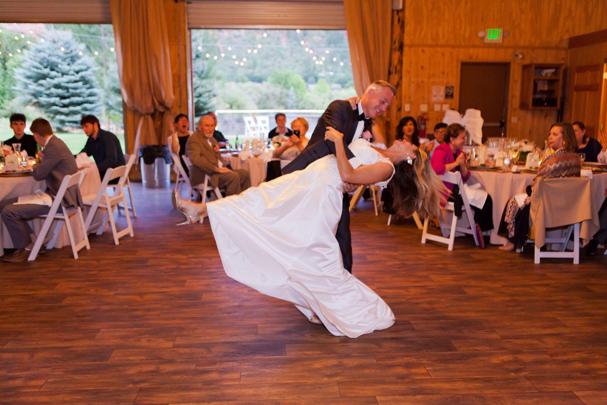 Bride & Groom first dance | Wedding Reception at River Bend Ranch in Durango, Colorado