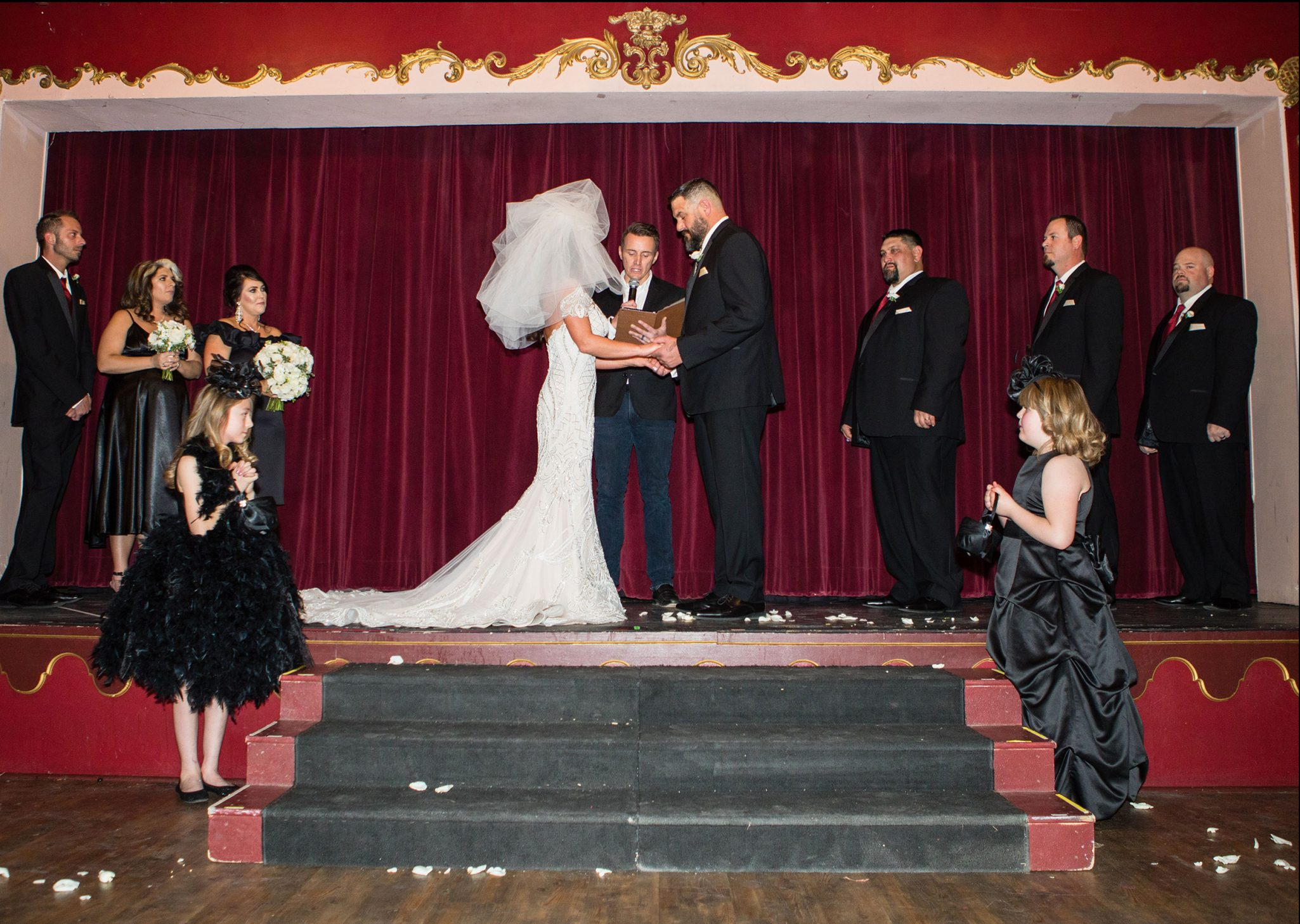 Wedding ceremony on the Henry Strater Stage at The Strater Hotel, Durango CO