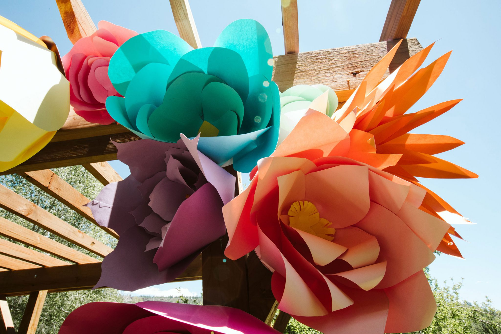 Handmade paper flowers for the wedding ceremony