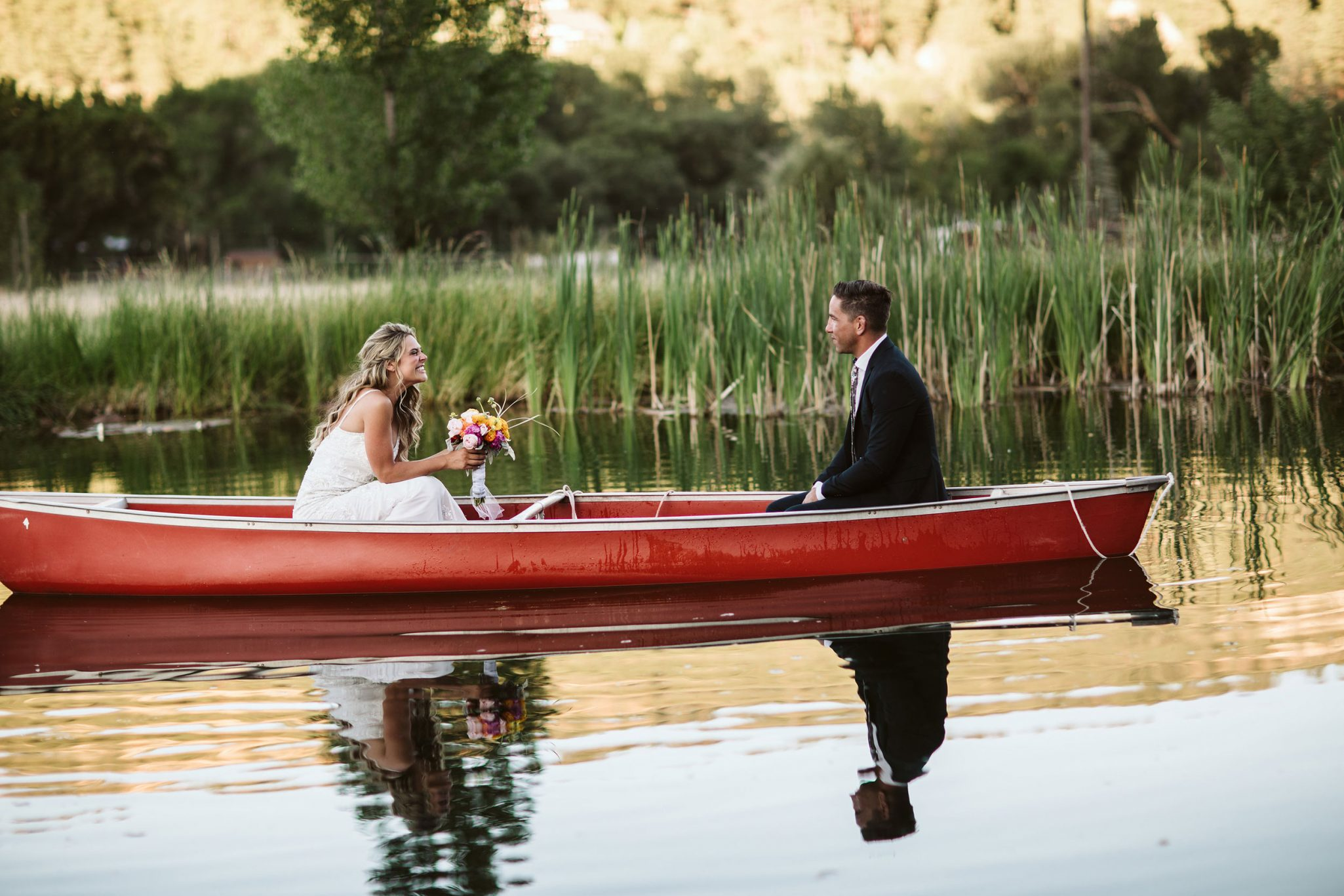 Bride + Groom + canoe