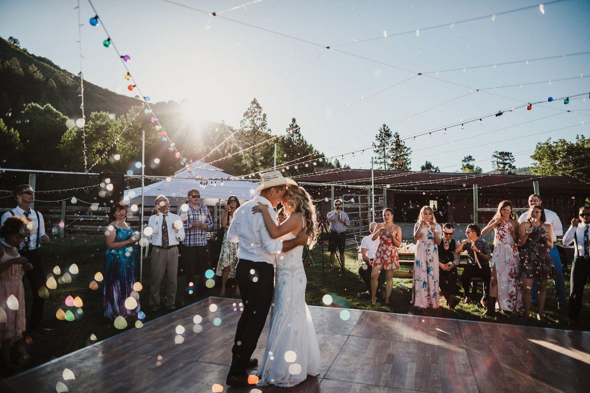 Outdoor dance floor - wedding reception
