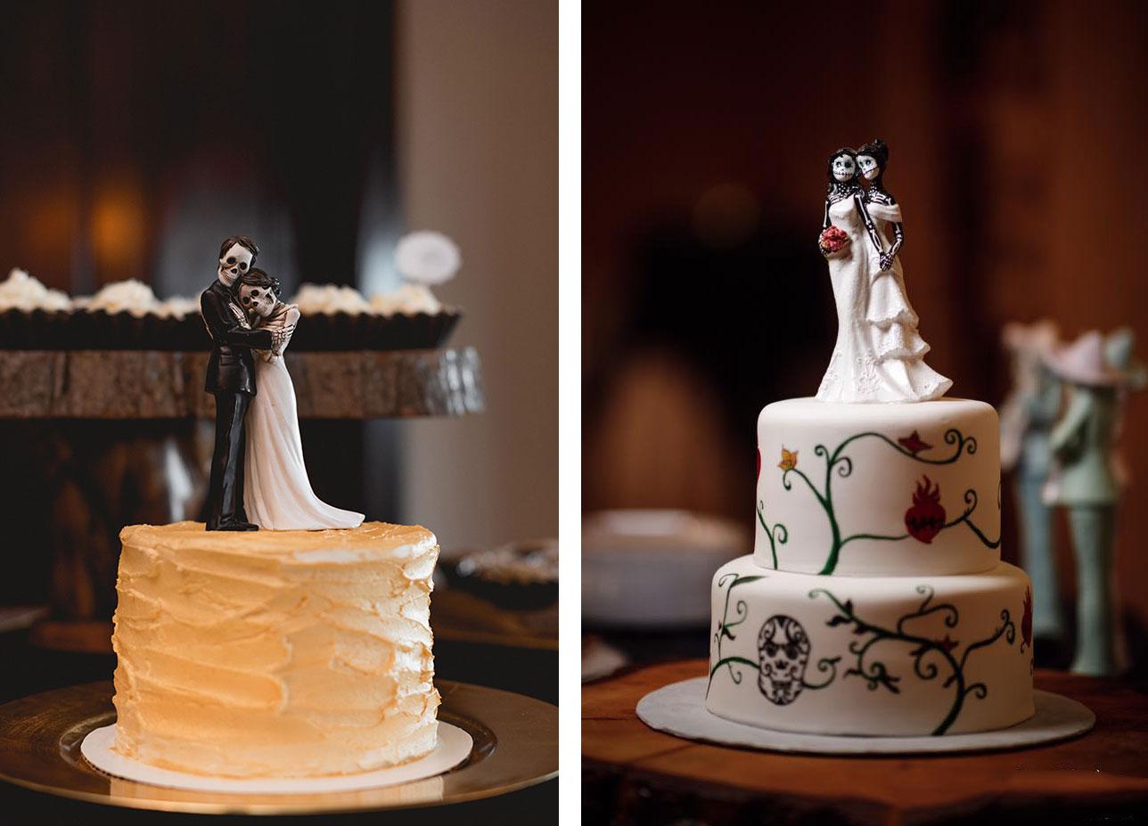 Bride & groom + bride & bride skelton cake topper