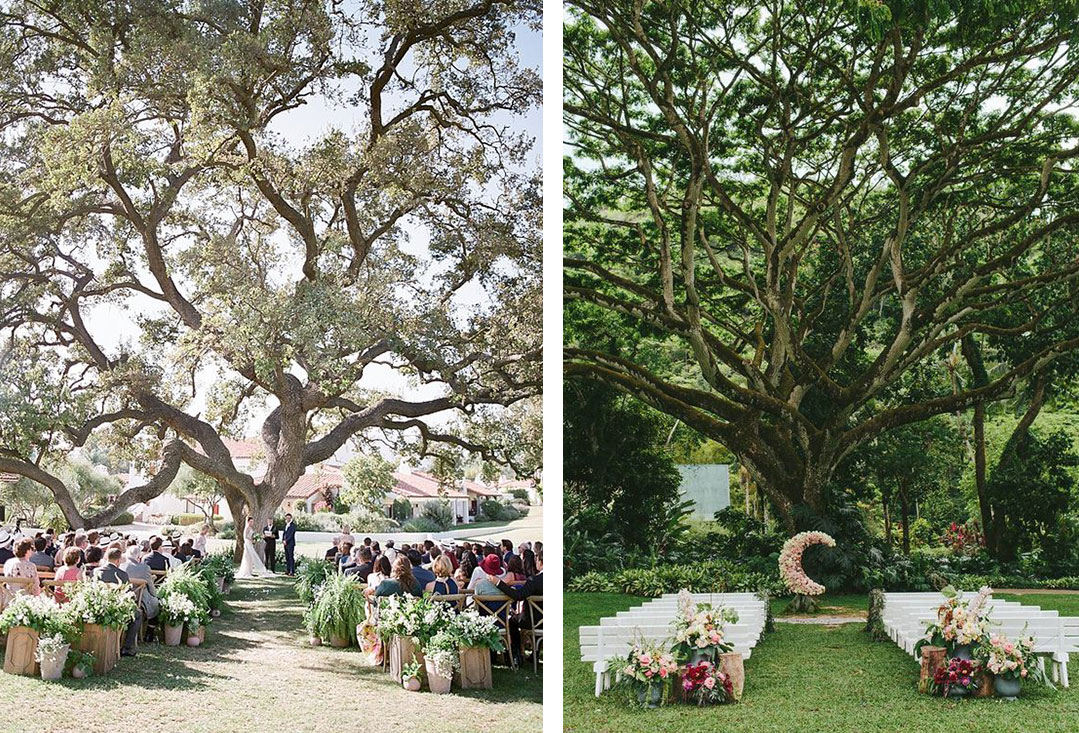 Wedding Trends | Layered Plant Entrances with Floral-lined Aisles and Statement Trees