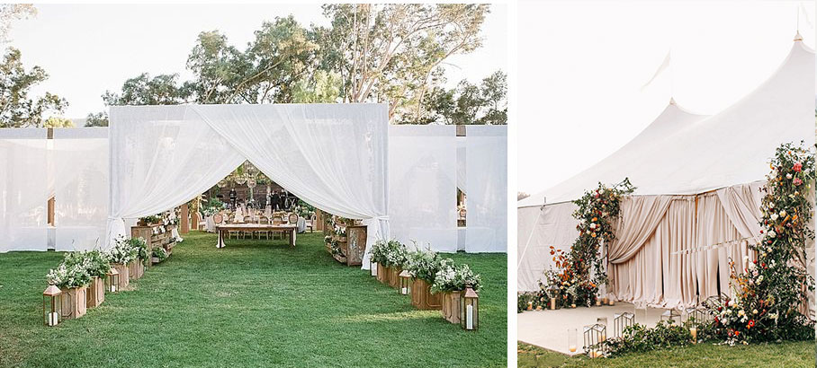 Tent entrances to wedding receptions