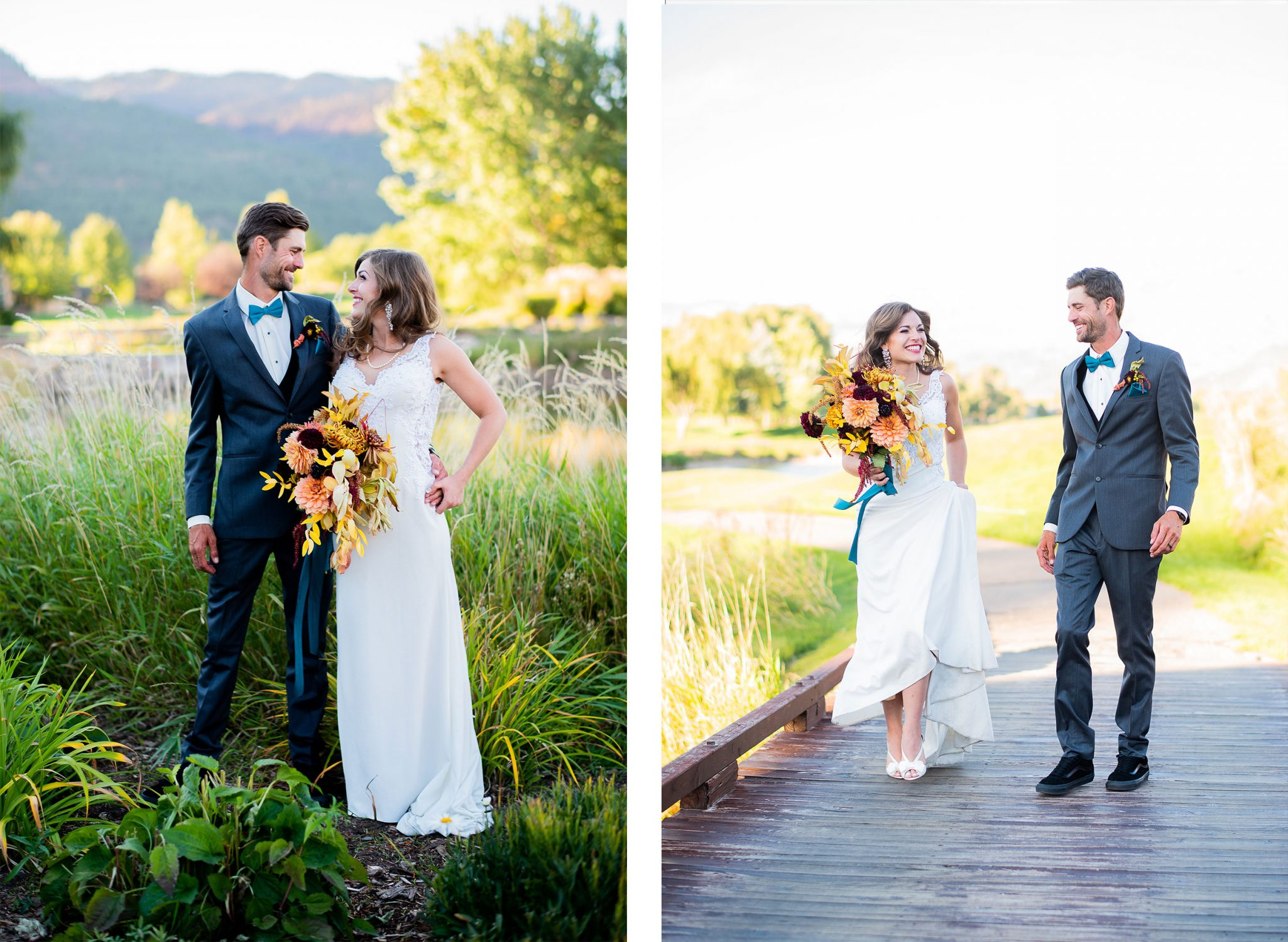 Happy Bride & Groom at Dalton Ranch Golf Club, Durango Colorado