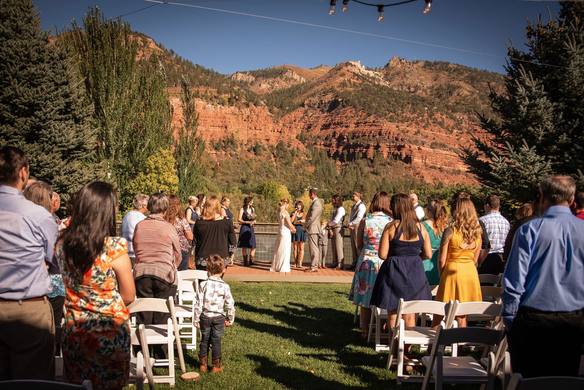 Outdoor ceremony at River Bend Ranch Durango Weddings Magazine