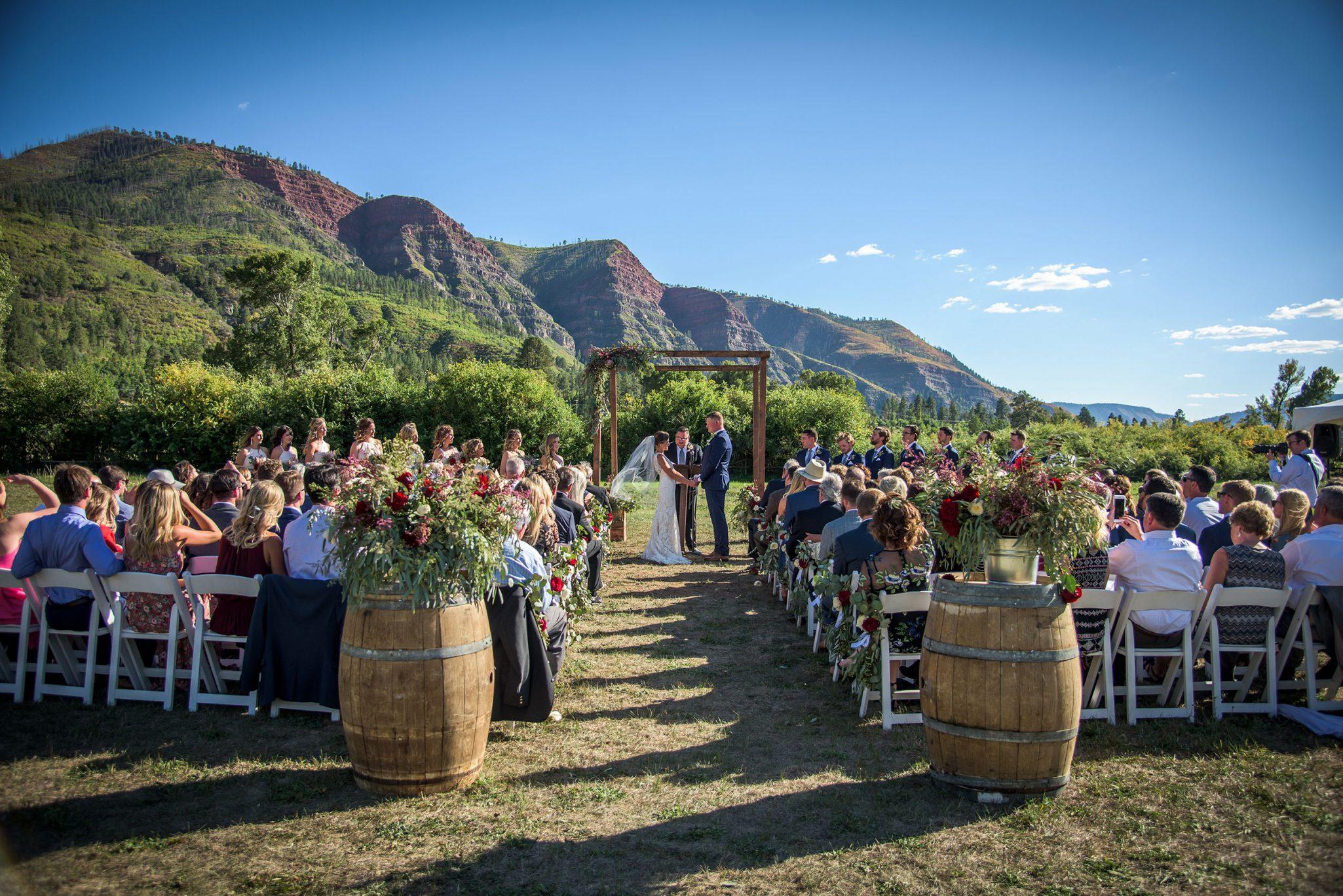 Durango wedding ceremony with mountain views