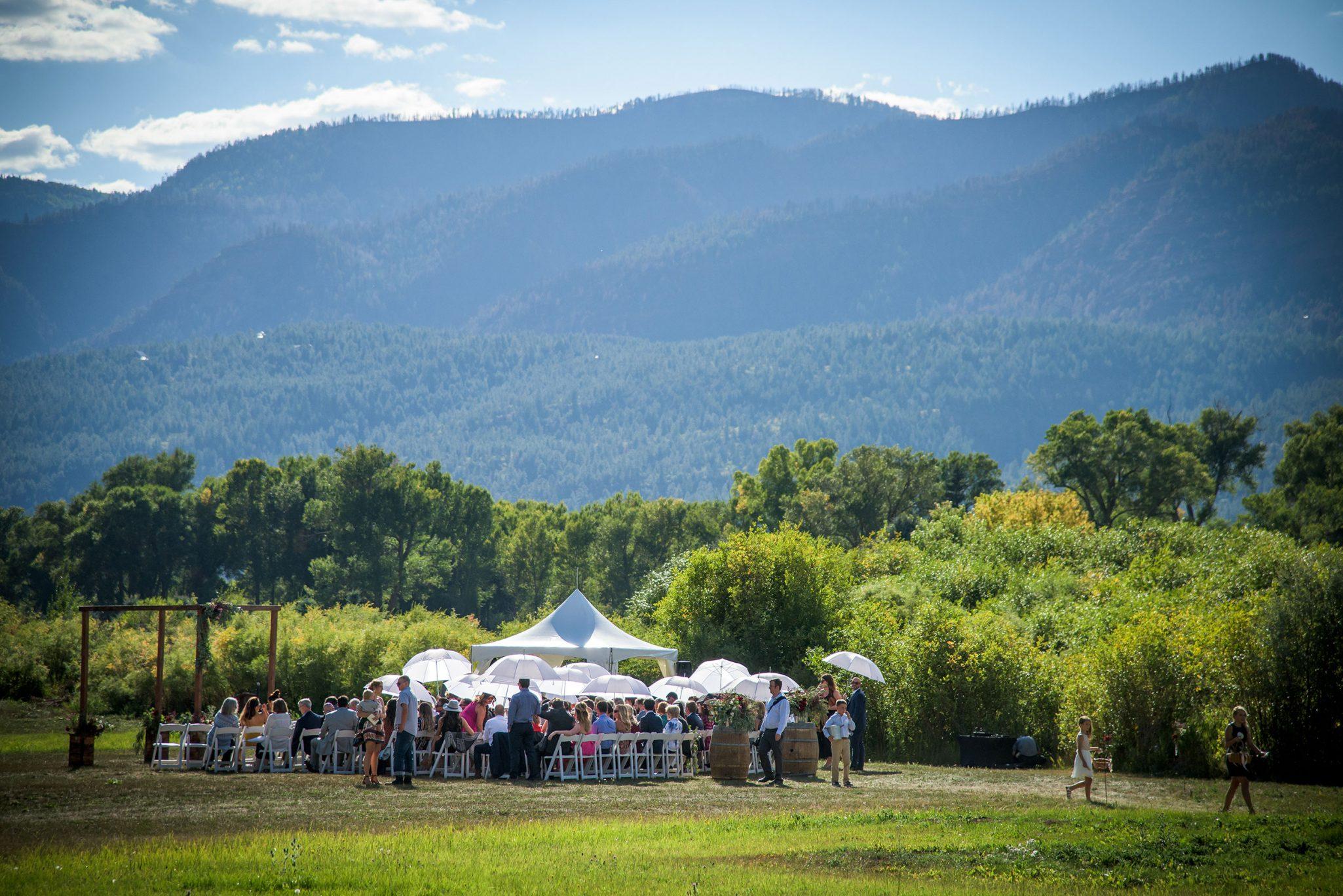 An outdoor tent reception in Durango, Colorado