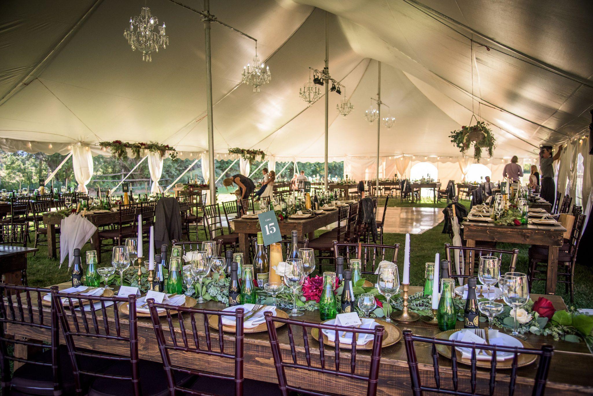 Rustic tent reception in Durango, Colorado