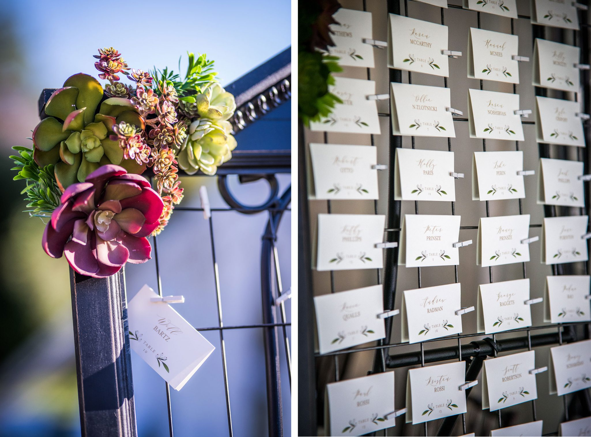 ig frames, metal grid wire and succulents. They sat on big metal easels and the escort cards were hung with little clothes pins.