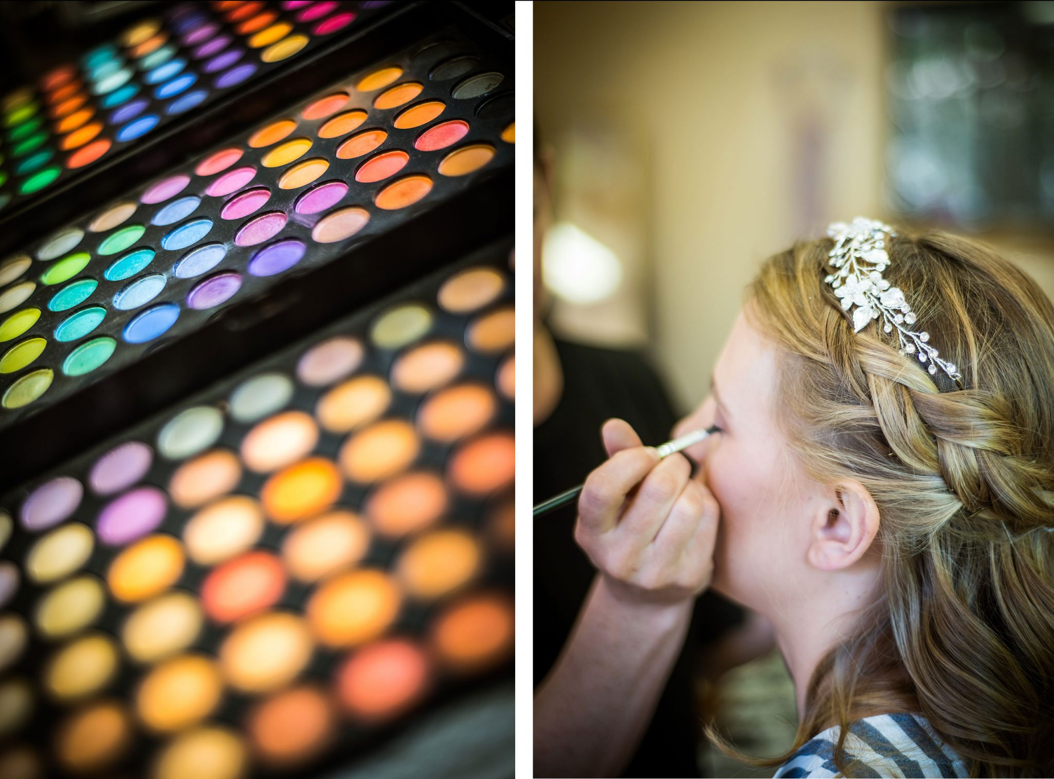Bride getting ready with Hair Fusion makeup artist via Durango Weddings Magazine