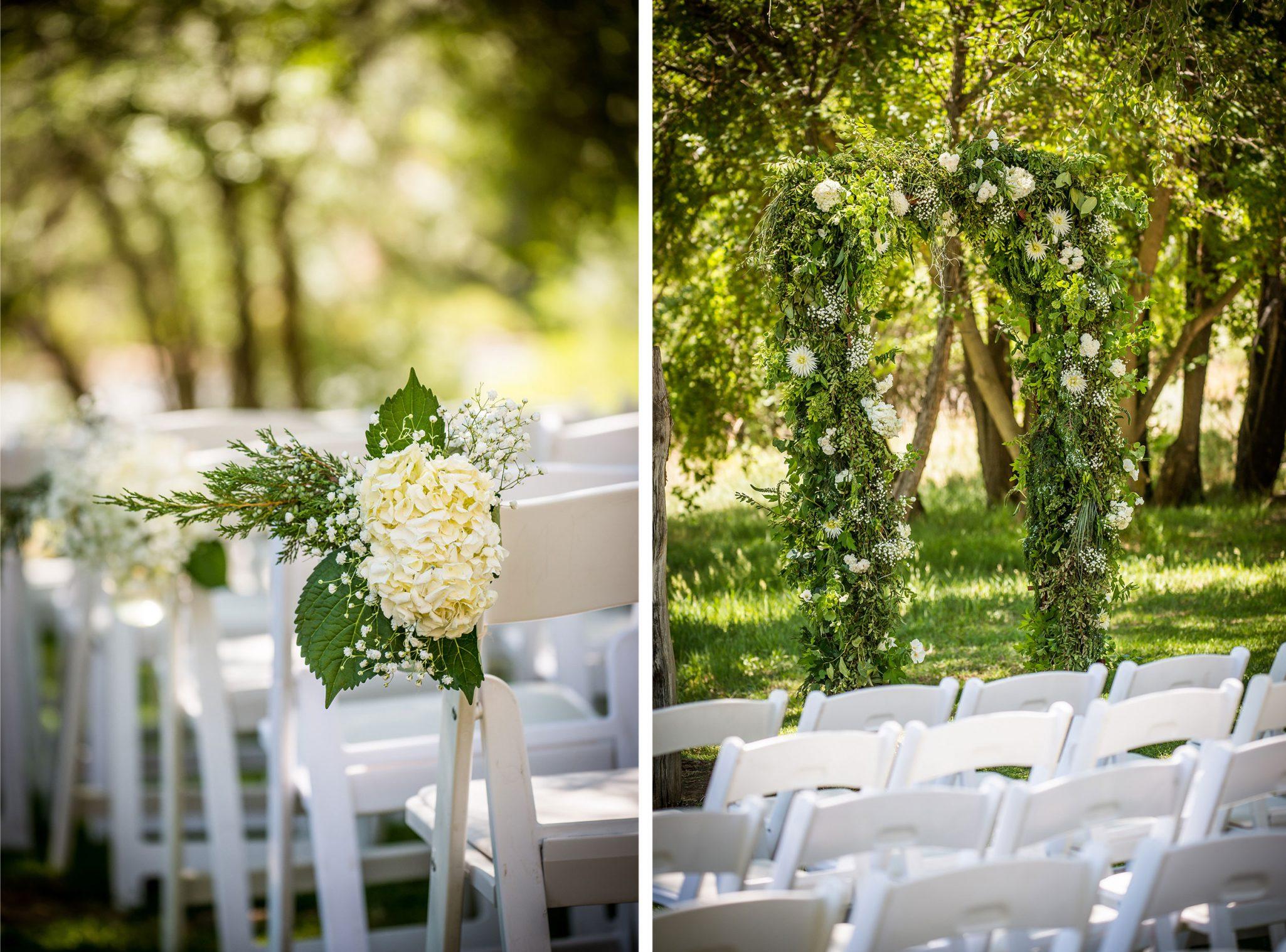 Ceremony floral along the Animas River via Durango Weddings Magazine
