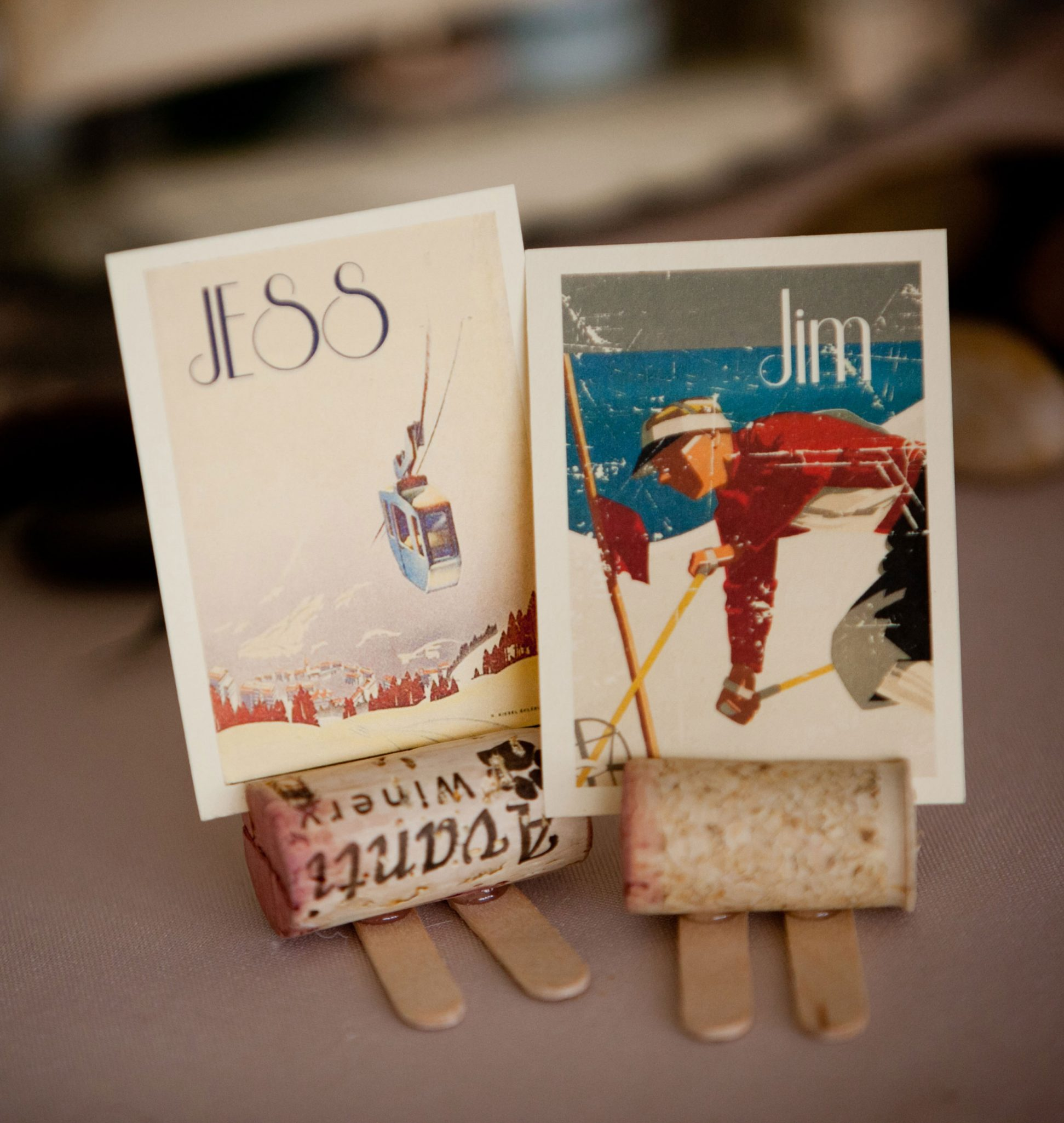 Vintage postcards used as ski escort cards