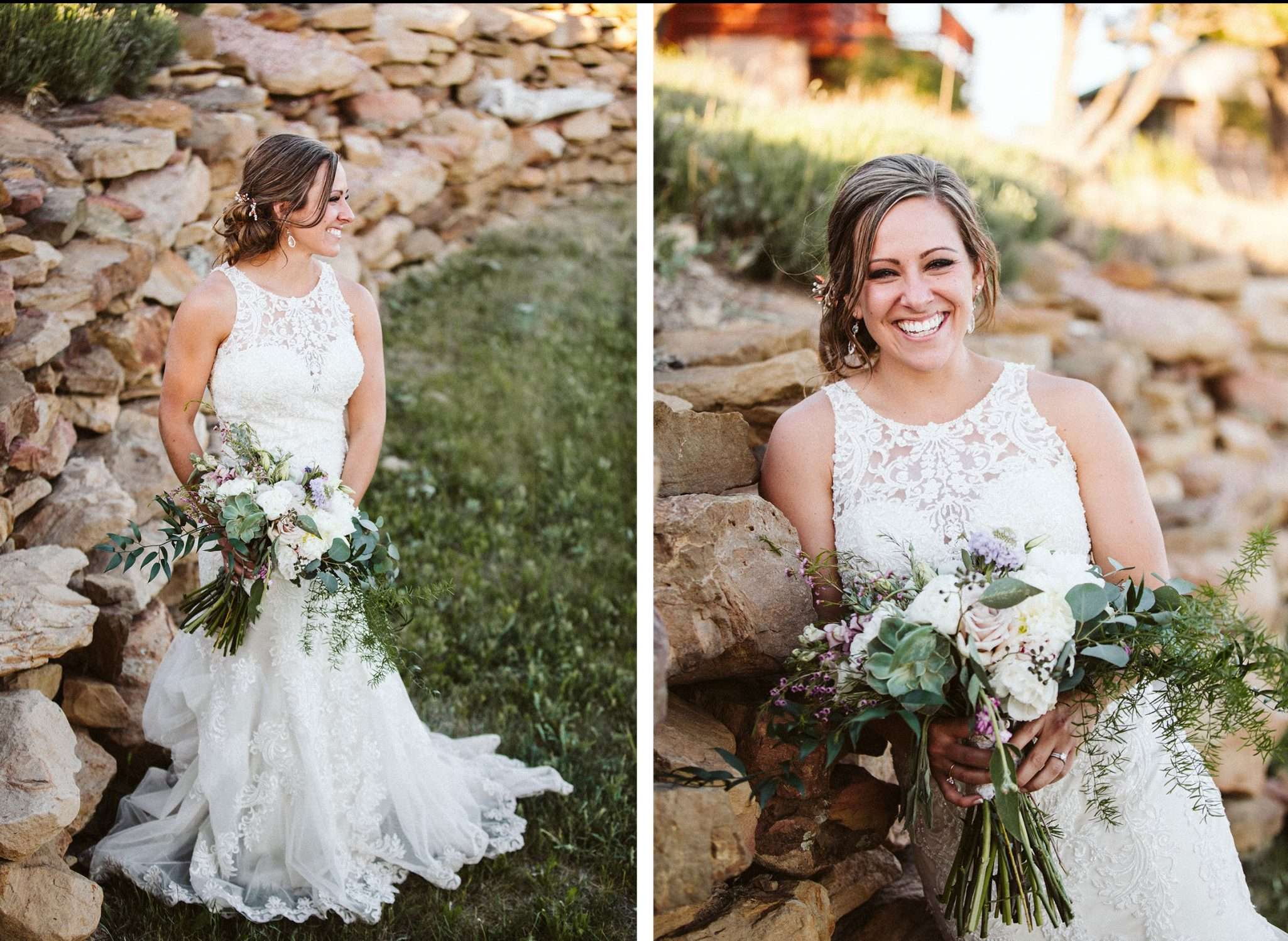 Bride wearing Essence of Australia (D2174); it was a fit and flare with a high neckline and illusion back.