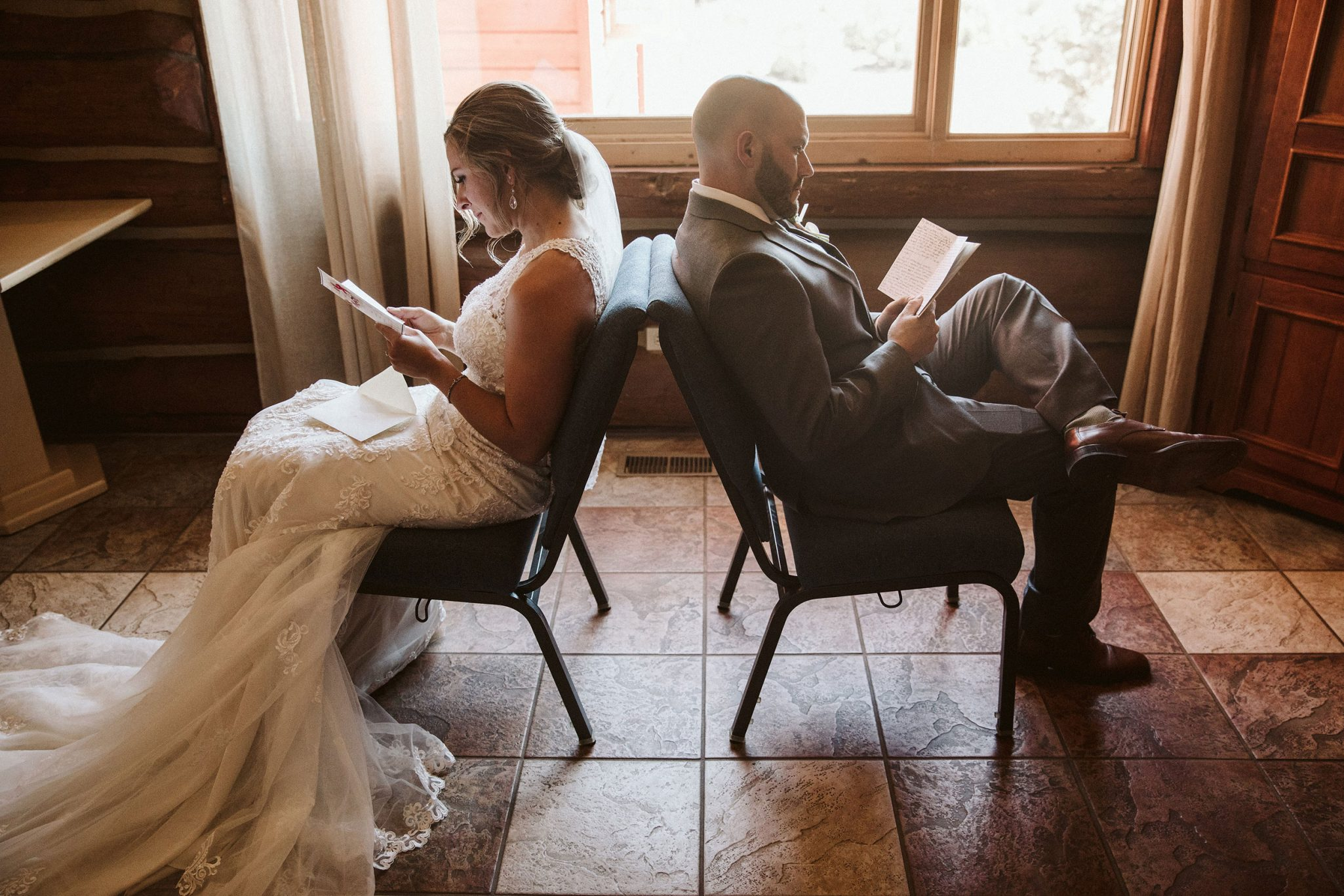Bride & Groom read private vows to each other in cards that they exchanged just before the ceremony.