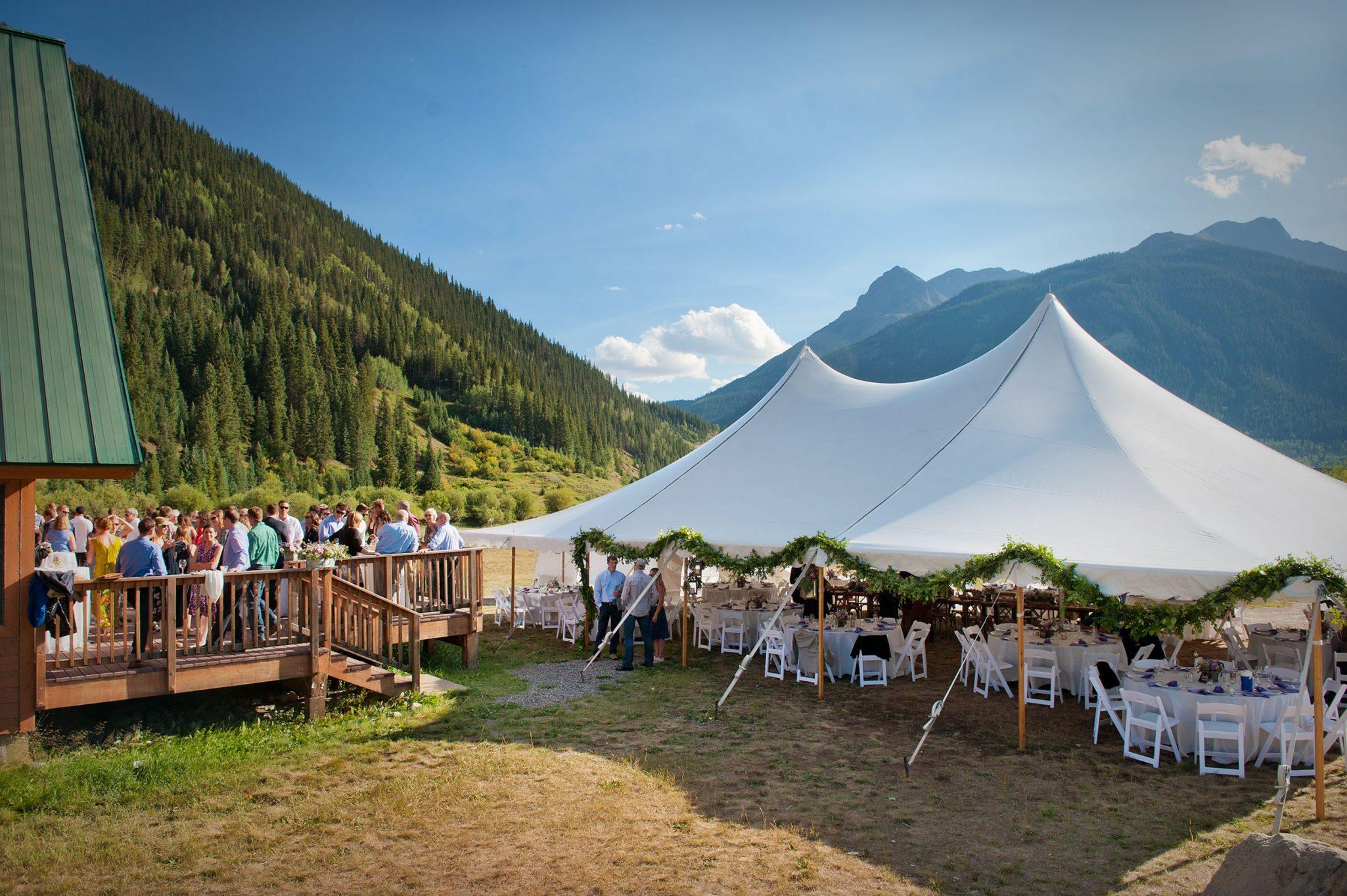 Tent reception from a Mountain Adventure Wedding in Silverton, Colorado
