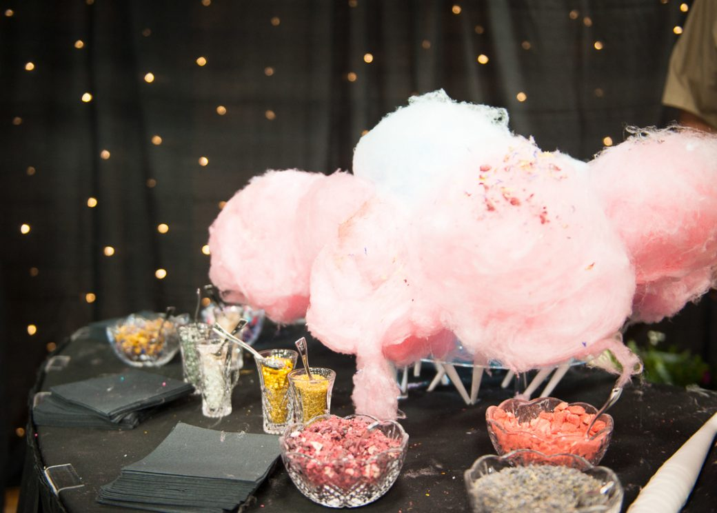 The cotton candy cloud bar with edible glitter and freeze dried fruit from Sky Ute Casino