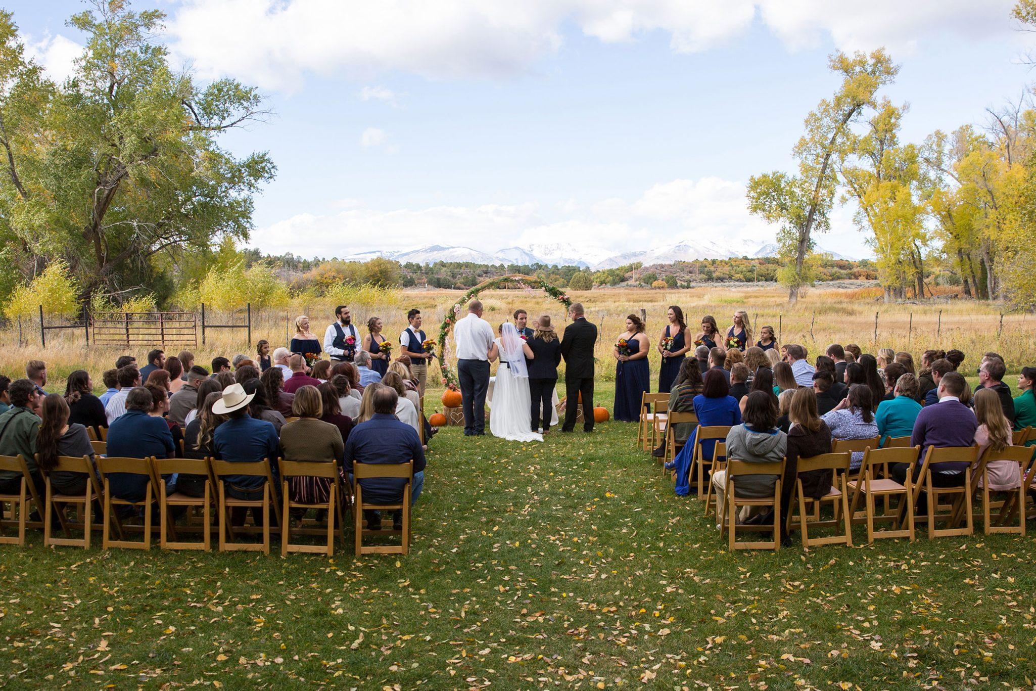 An autumn ceremony at Ridgewood Event Center, Durango Colorado