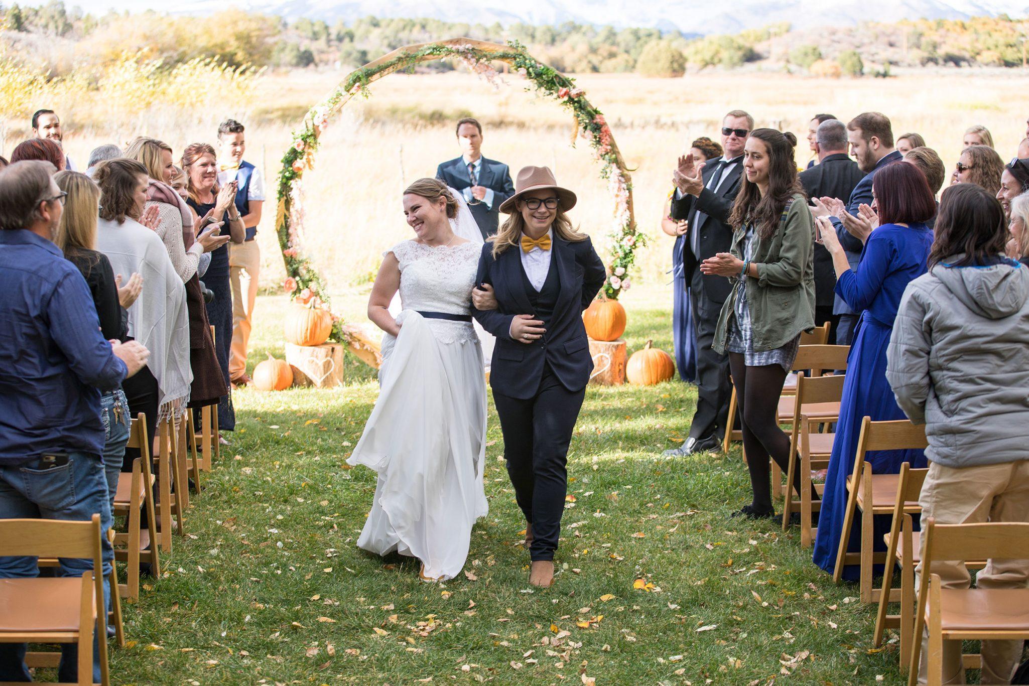 A same-sex autumn ceremony at Ridgewood Event Center, Durango Colorado