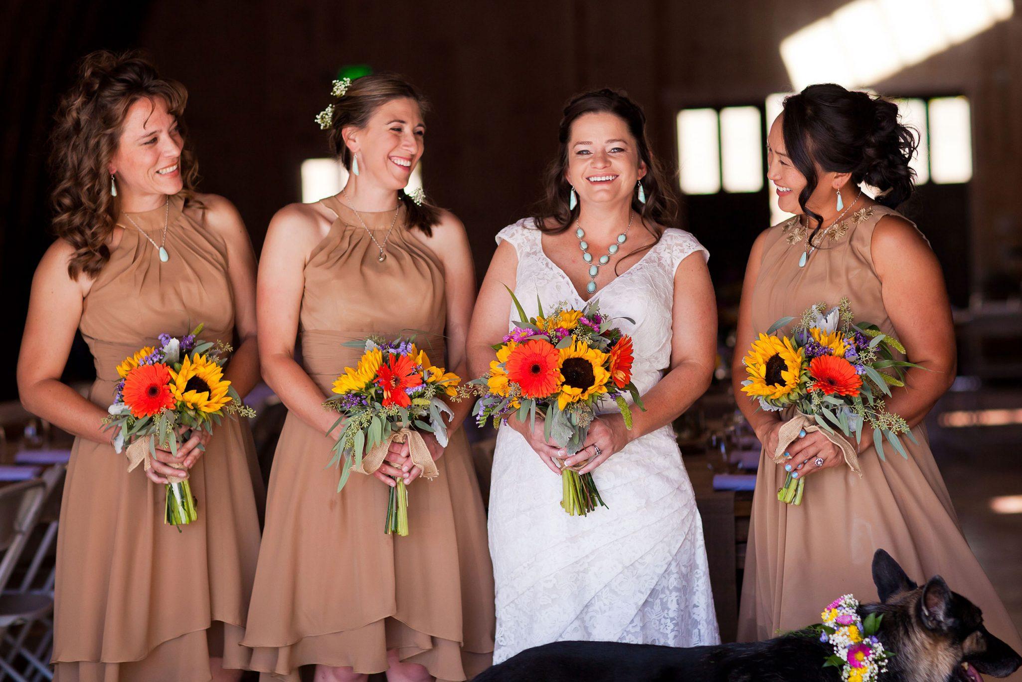 Bridesmaids at Reising Stage wedding venue   Durango Weddings Magazine