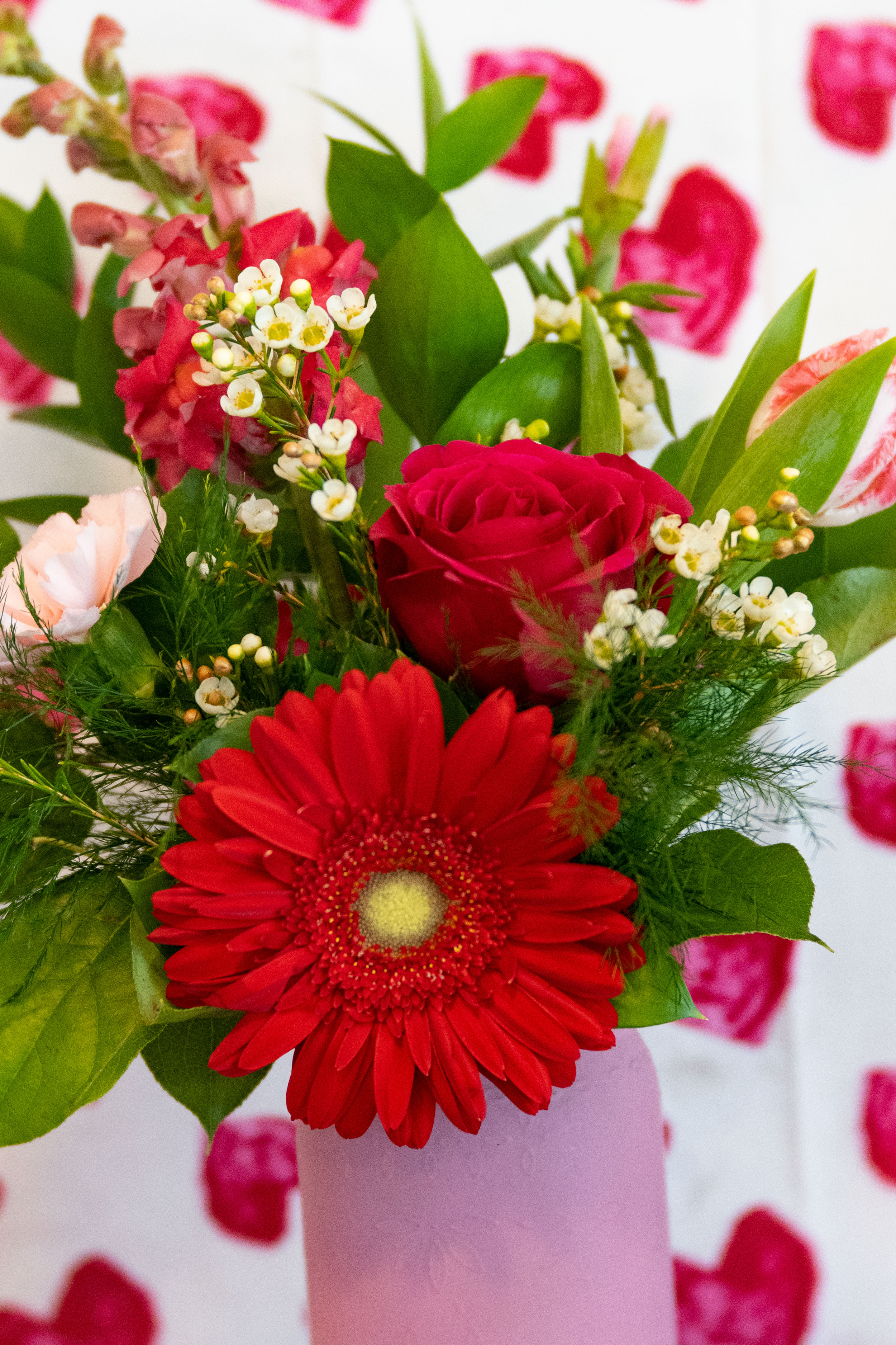 Sweet Love in a Mason Jar arrangement for Valentine's Day ideas, Durango, Colorado