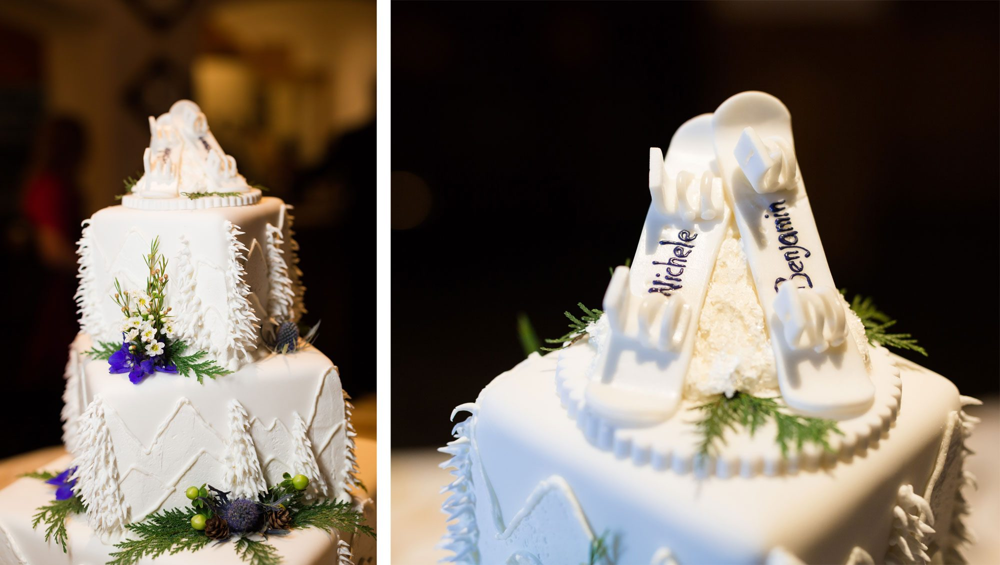 Wedding cake with snowboard cake topper