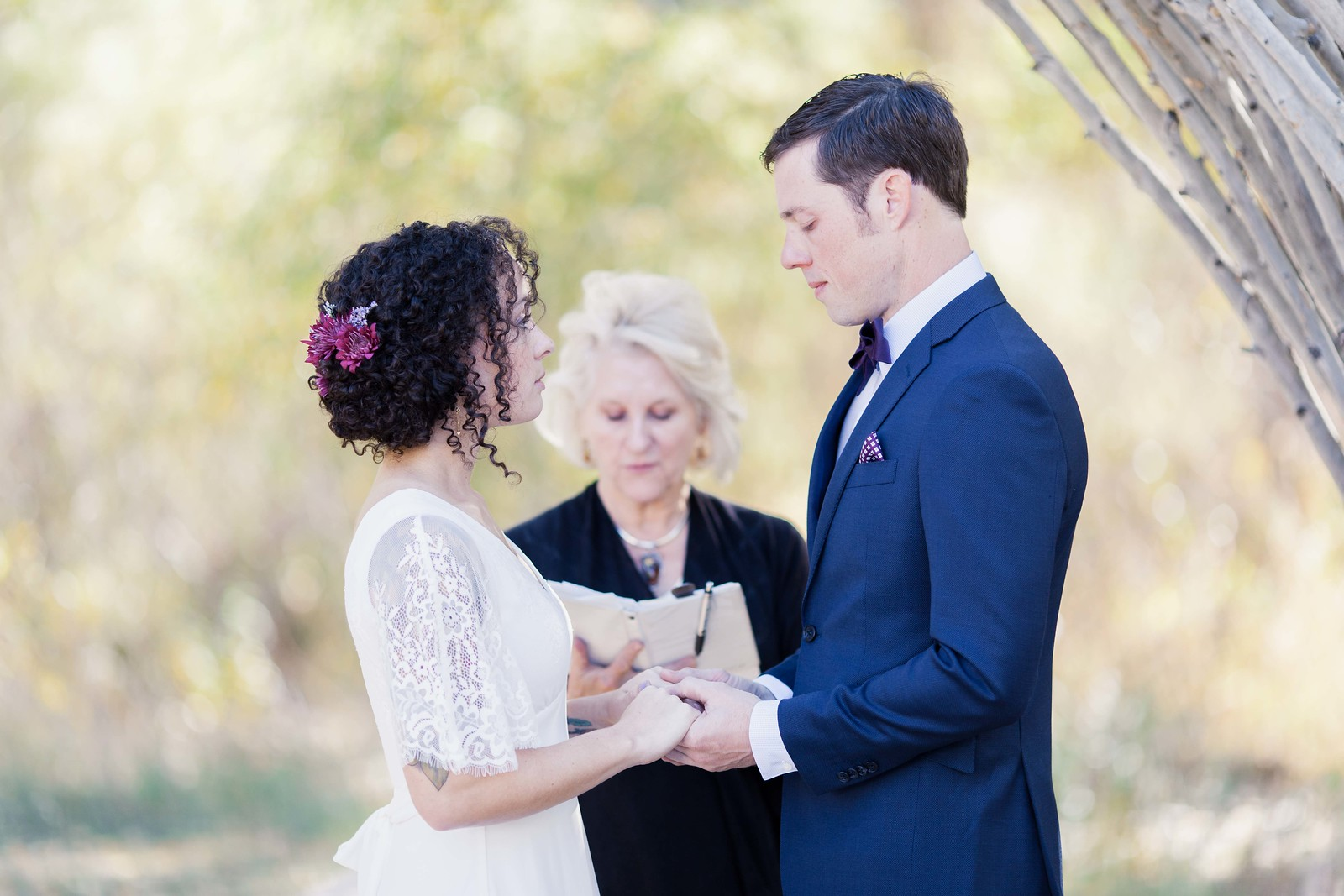 Intimate ceremony at Antlers on the Creek B&B