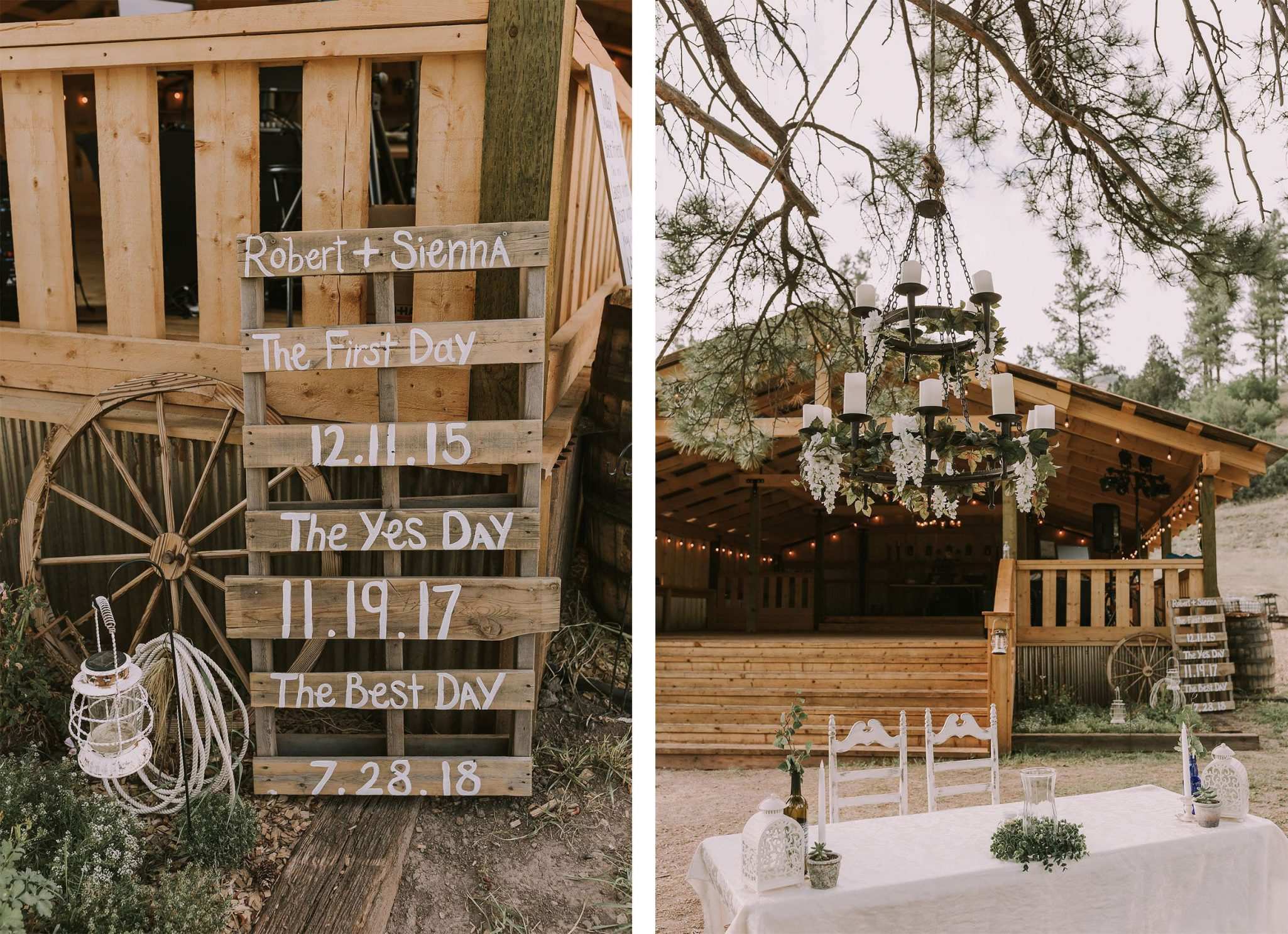 Rustic wedding decor at Paradise Ranch in Pagosa Springs, Colorado