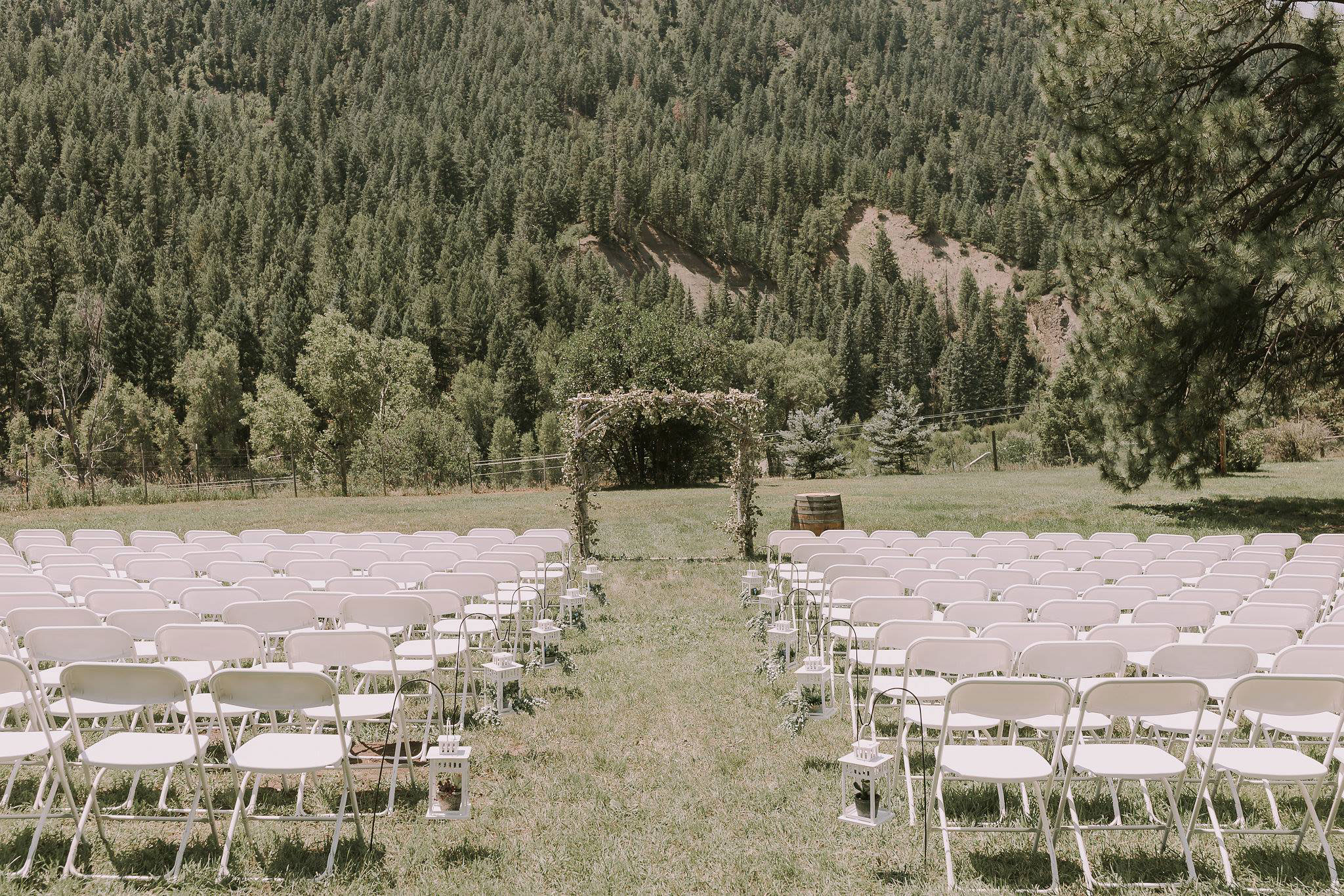 Outdoor ceremony at Paradise Ranch in Pagosa Springs, Colorado