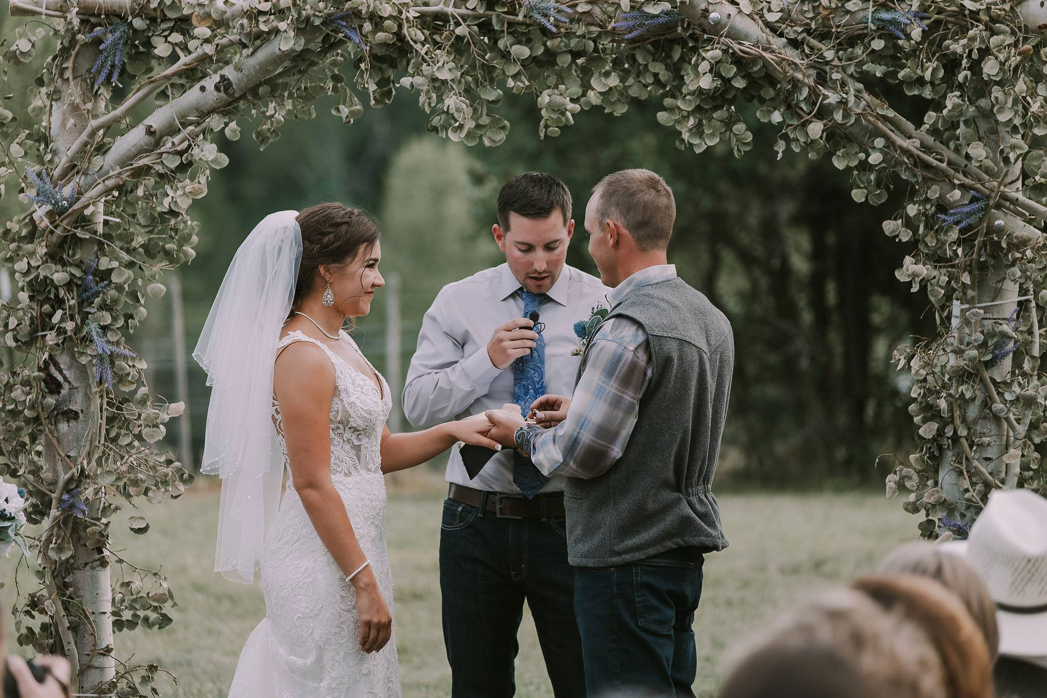 Wedding vows at Paradise Ranch in Pagosa Springs, Colorado