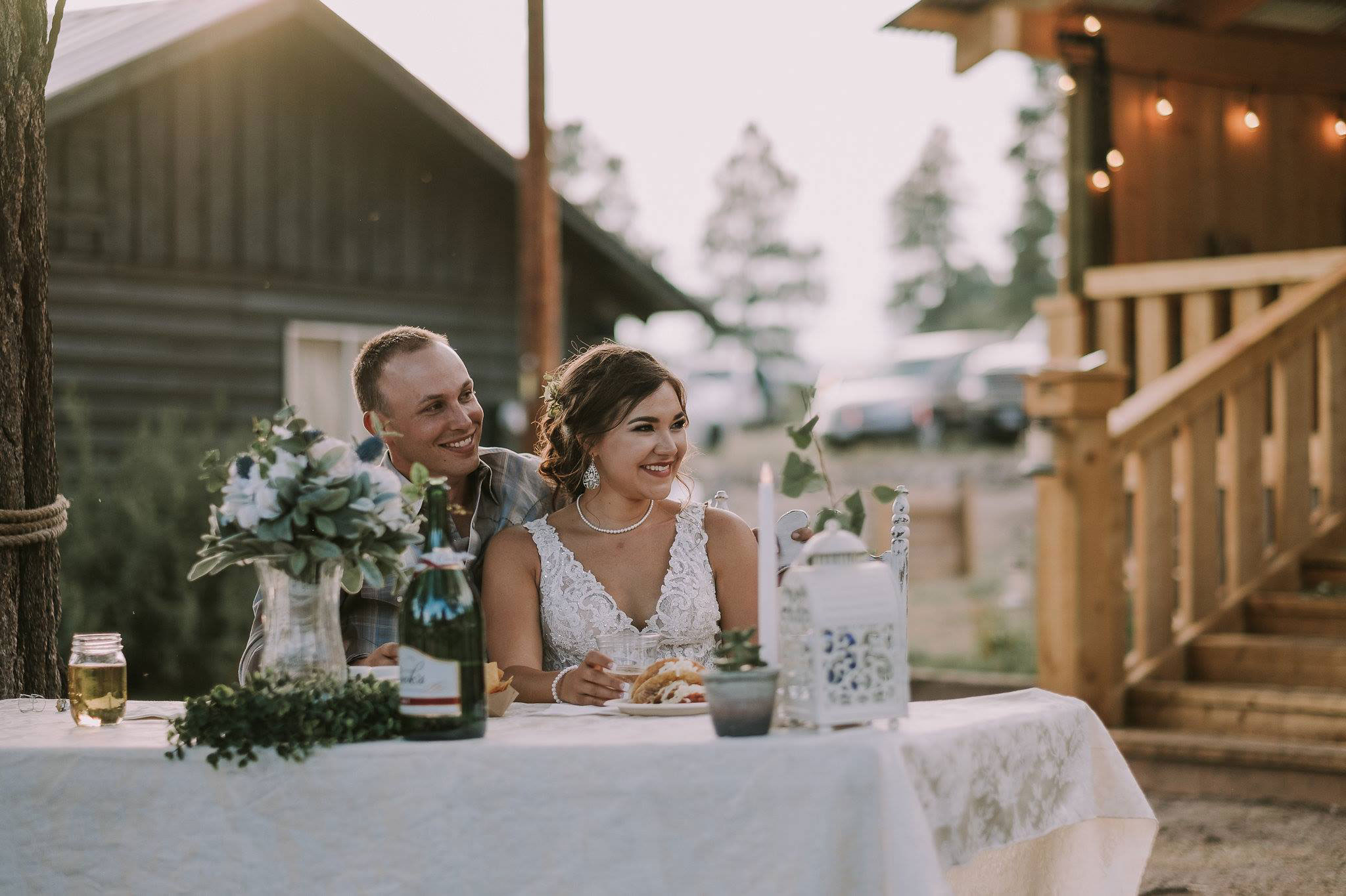Outdoor wedding reception at Paradise Ranch in Pagosa Springs, Colorado