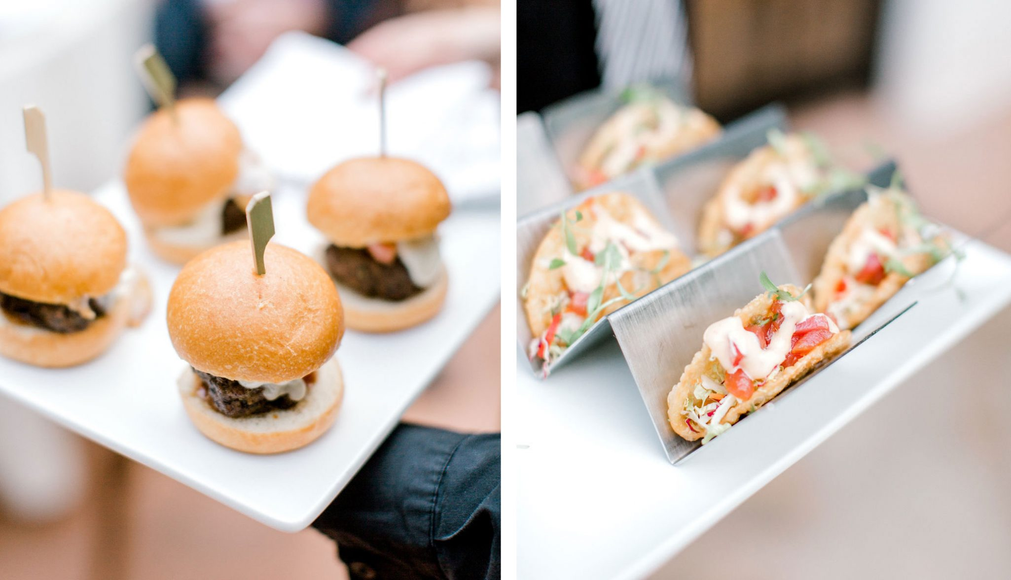 Reception food - hamburgers & tacos