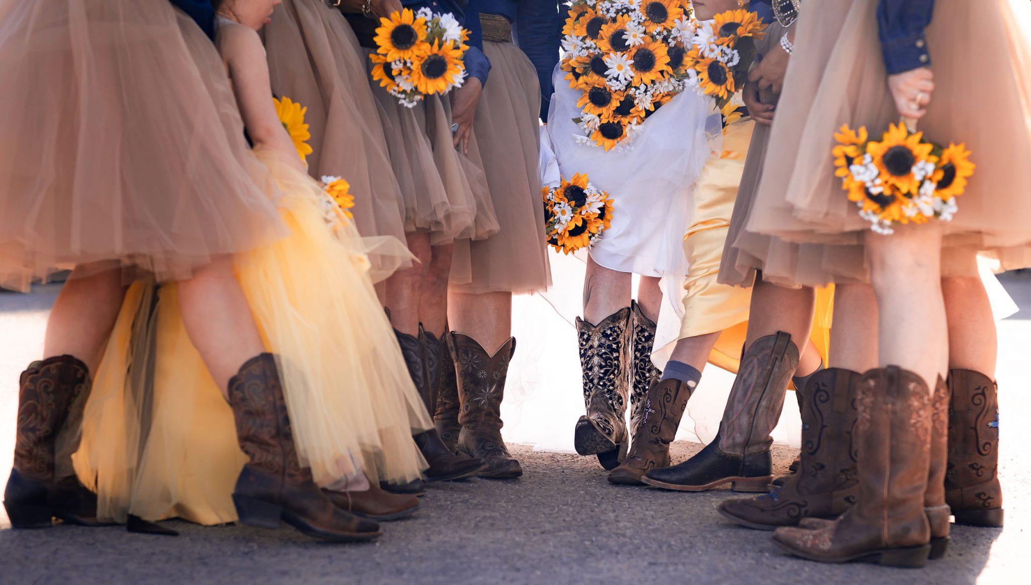 Bridesmaid in cowboy boots