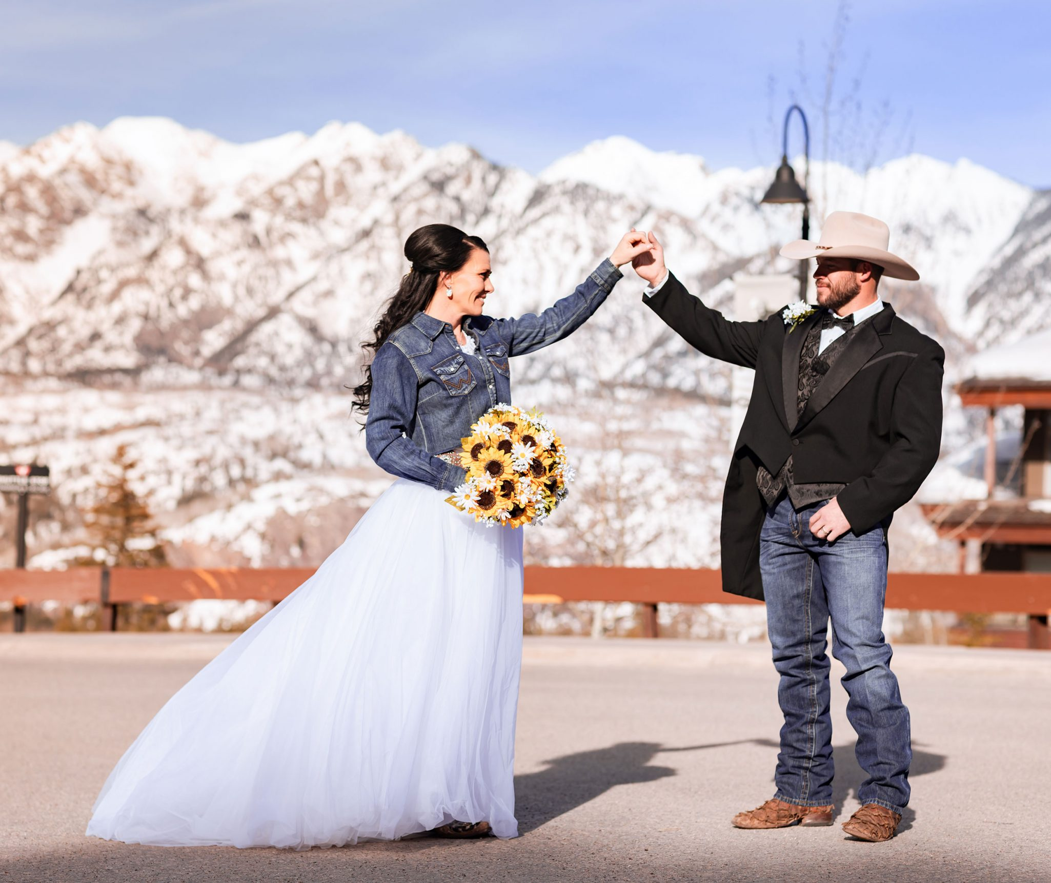Bride + groom at Purgatory Resort, Durango Colorado