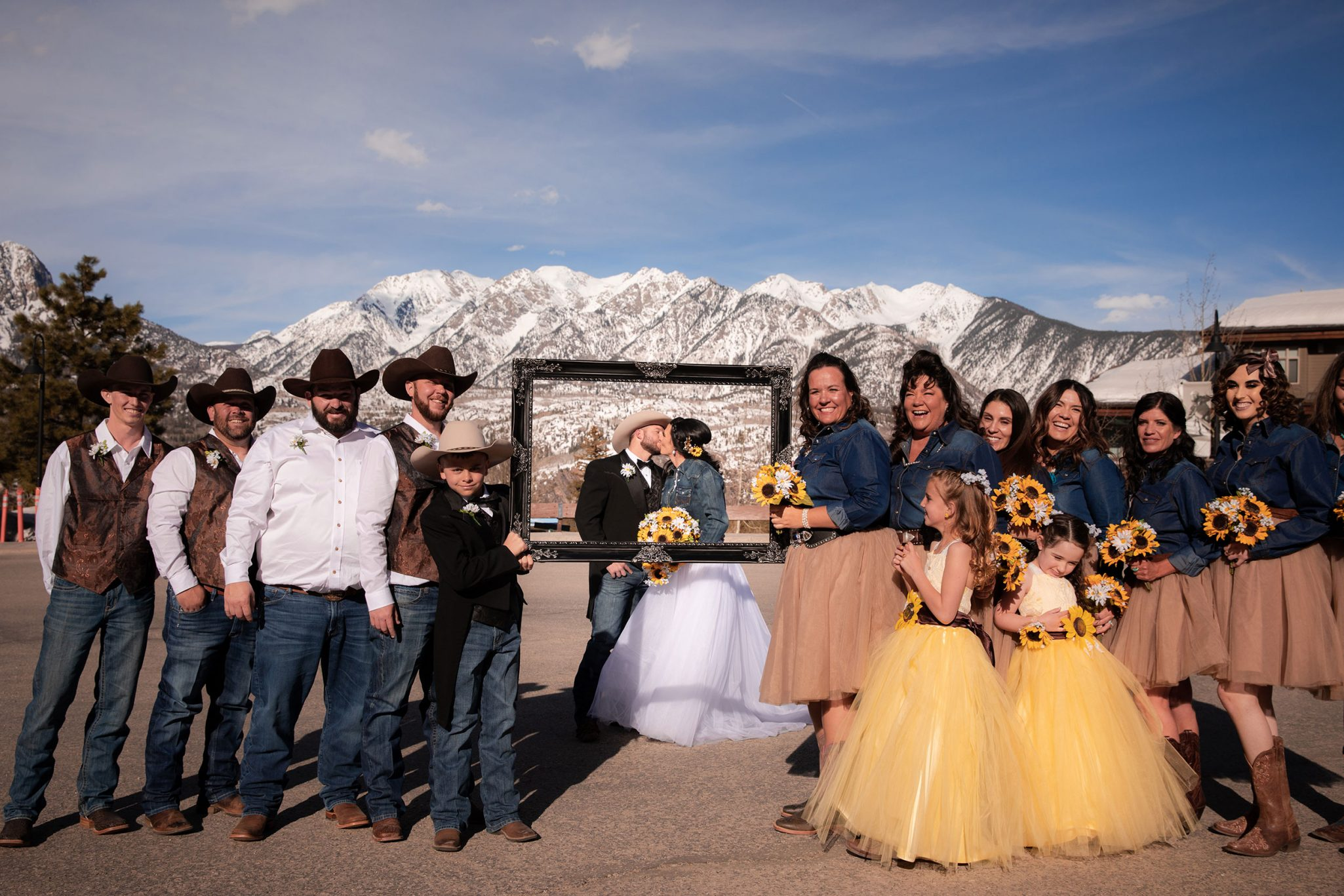 Bride + groom kiss at Purgatory Resort, Durango Colorado