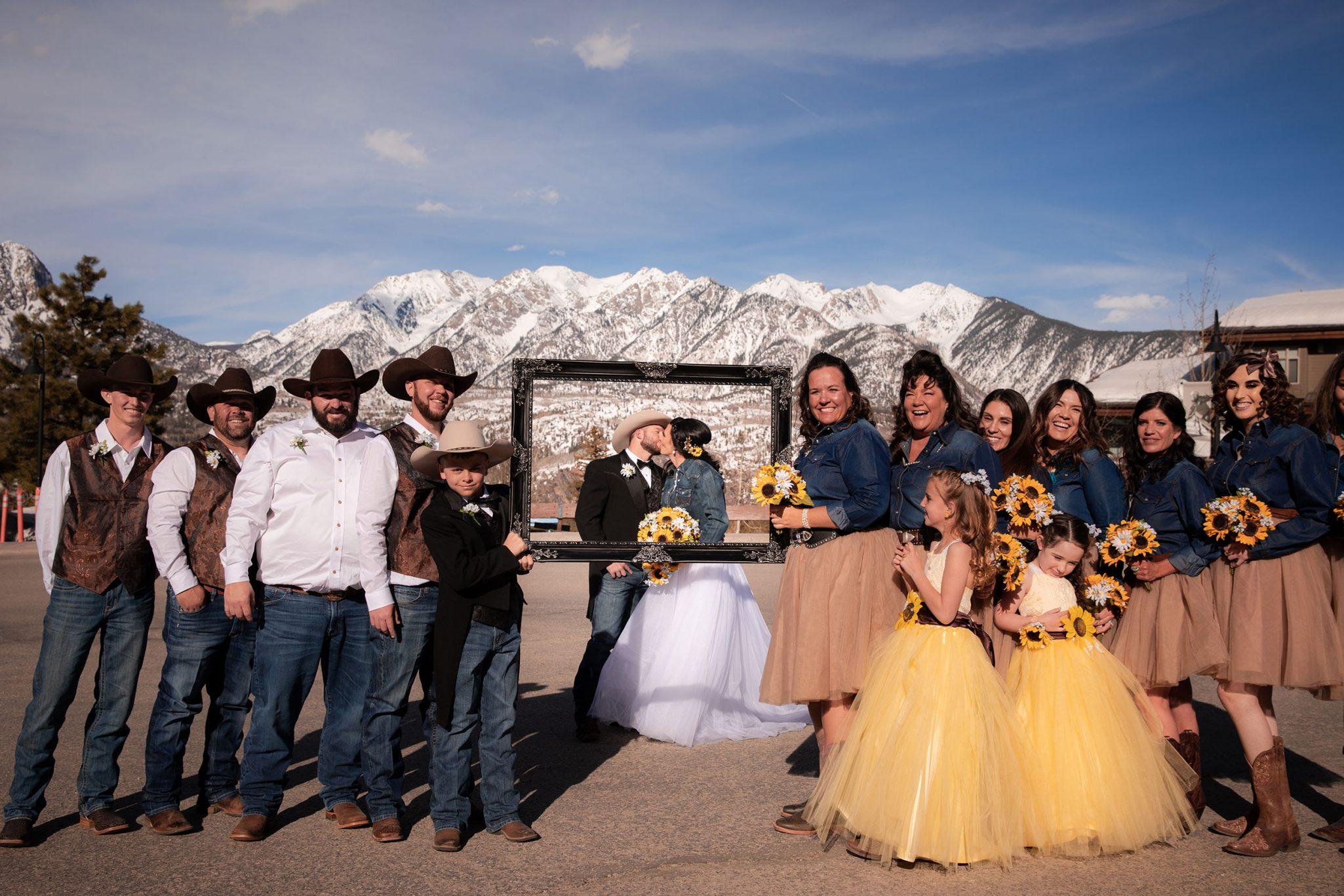 Bride + groom kiss at Purgatory Resort, Durango Colorado