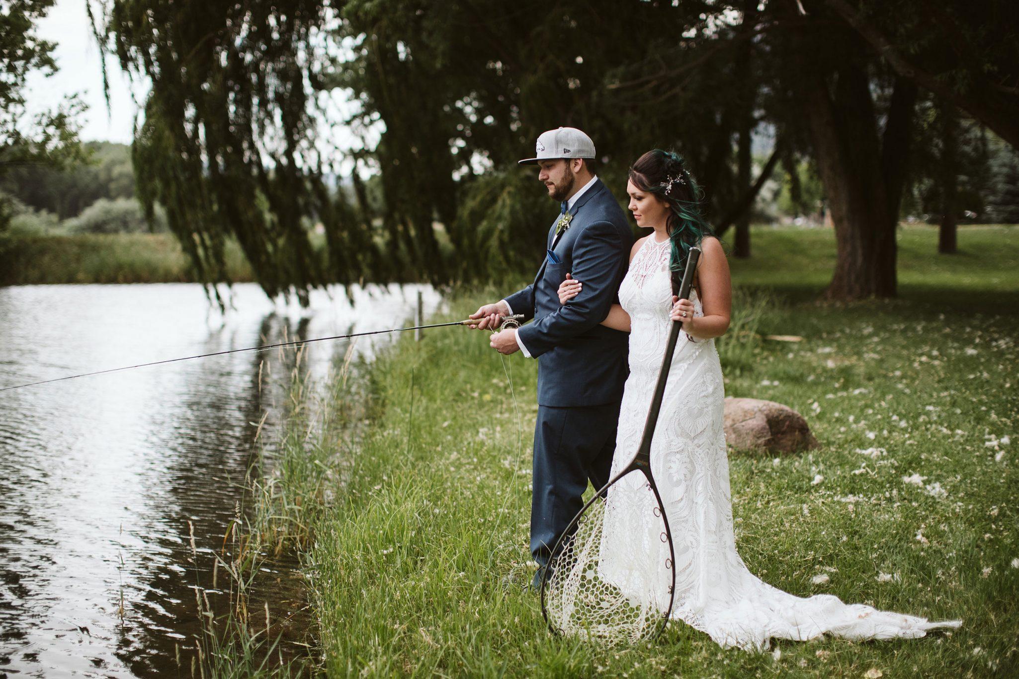 Bride & Groom fishing