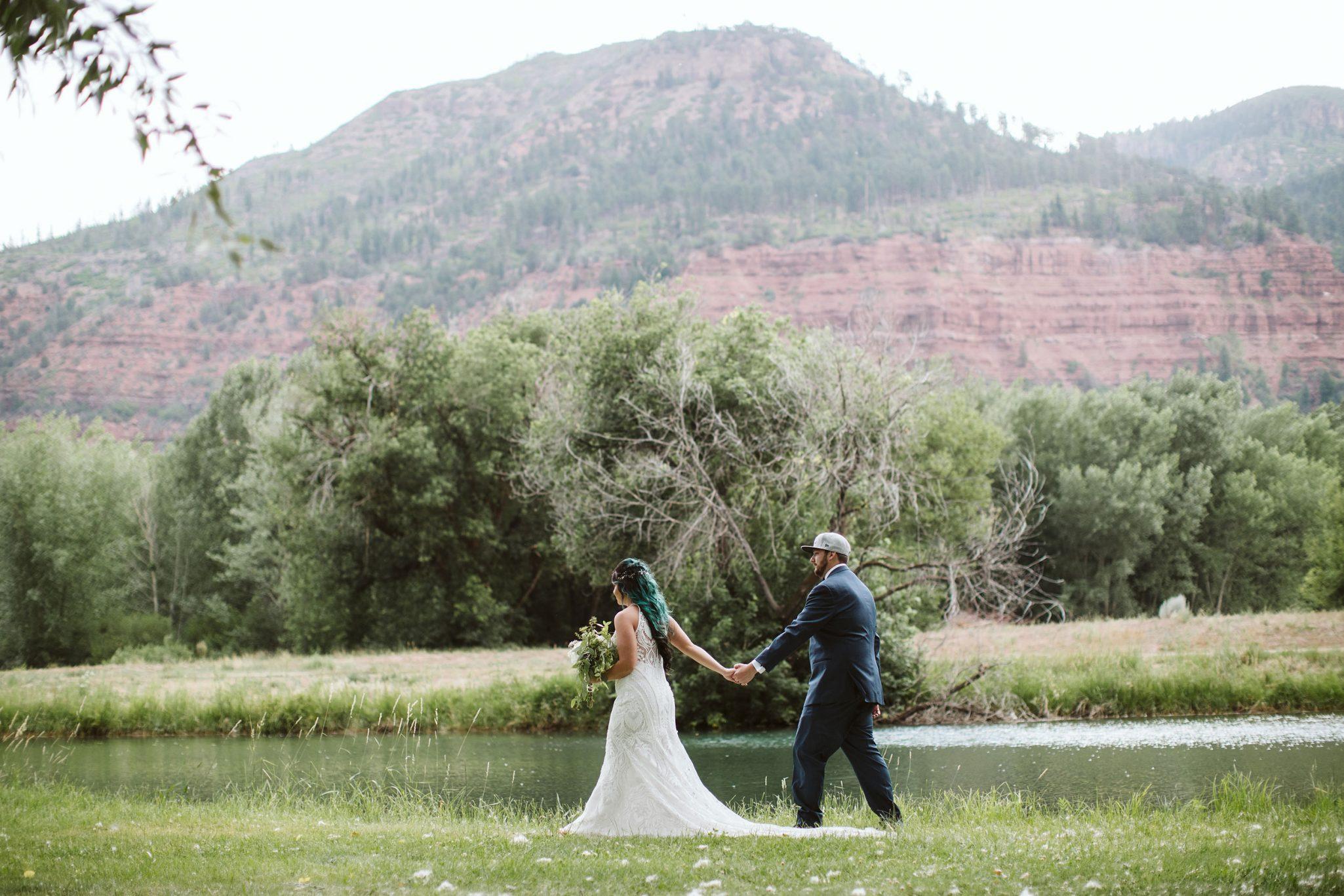 Bride & Groom at River Bend Ranch, Durango Colorado