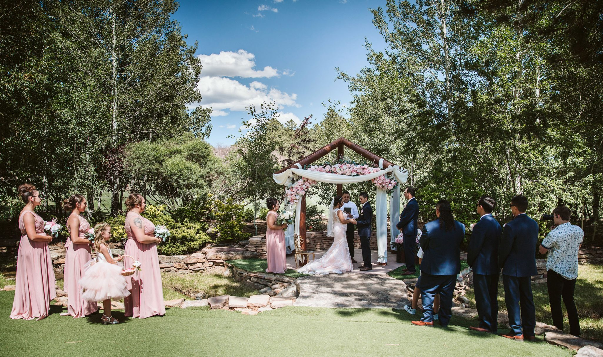 Wedding ceremony at Echo Basin Ranch, Durango, Colorado