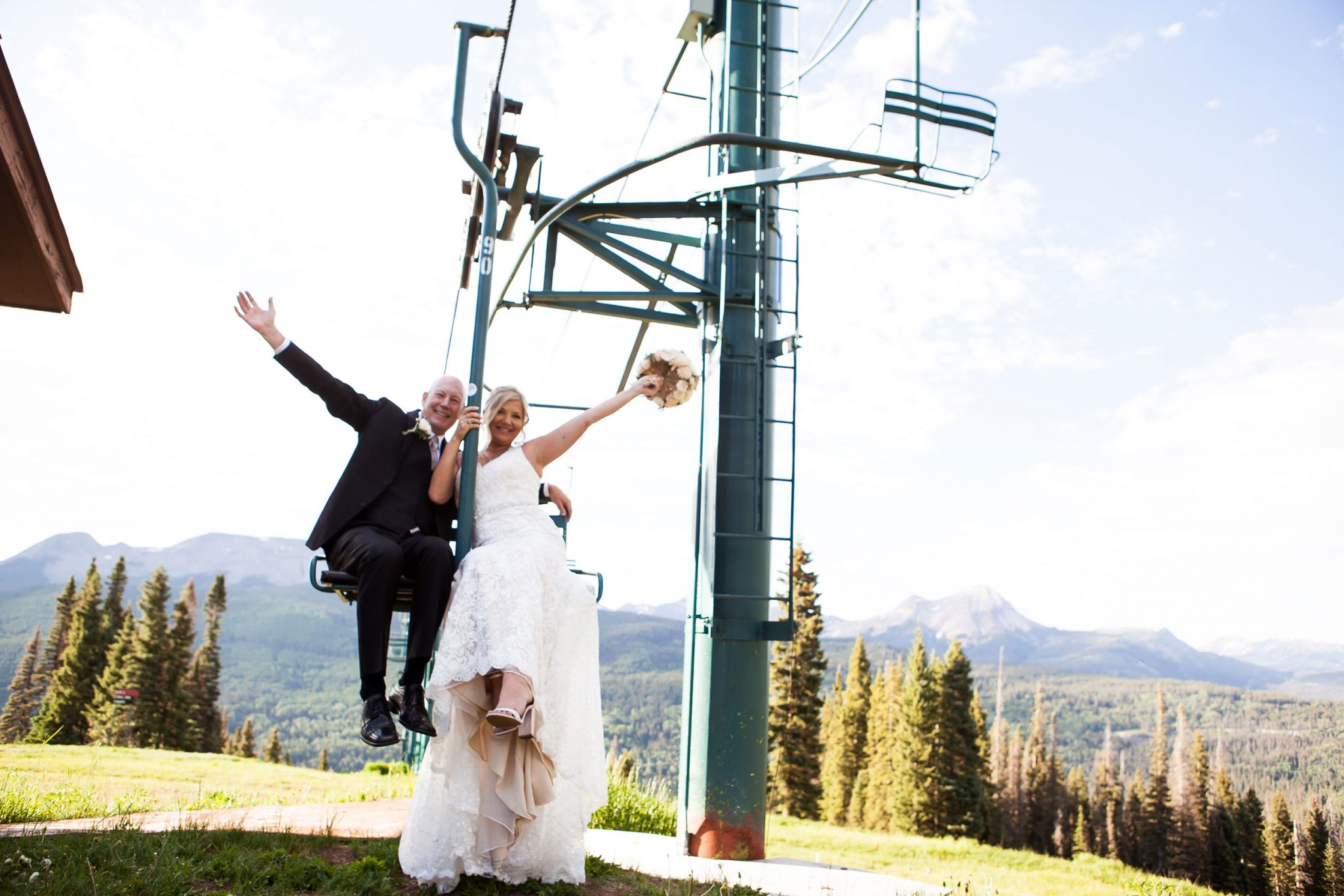 Bride & Groom on the chairlift at Purgatory Resort, Durango CO