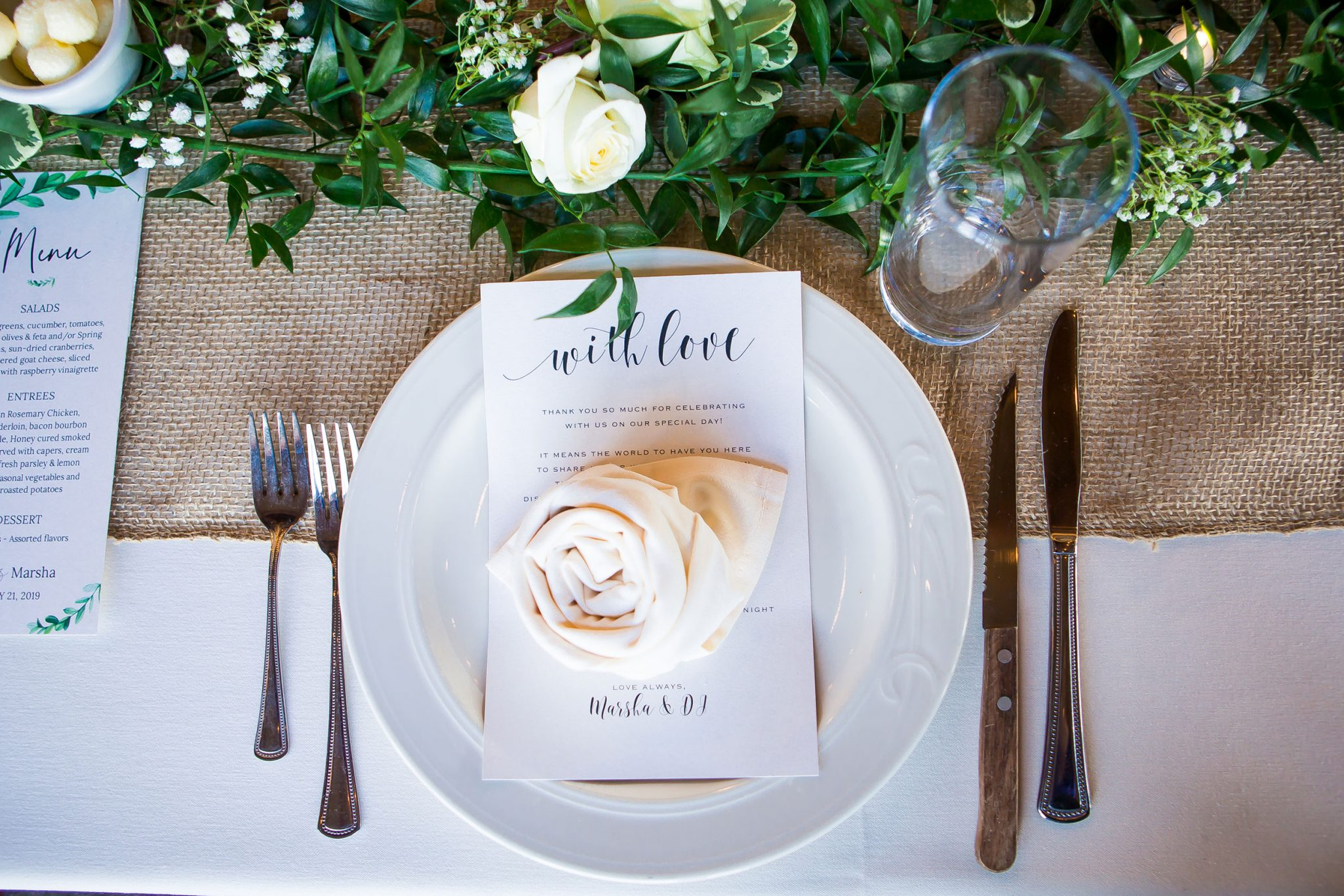 Rustic wedding reception details