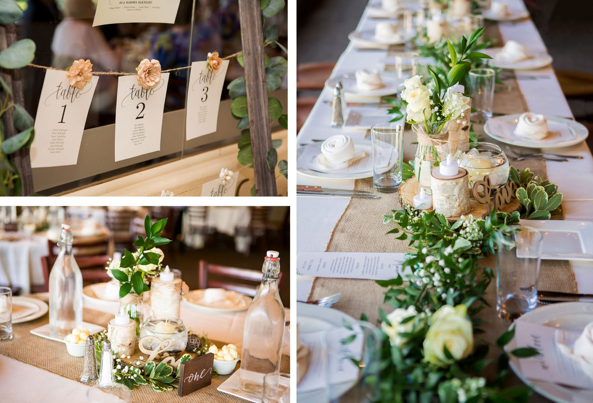 Rustic wedding reception tablescape