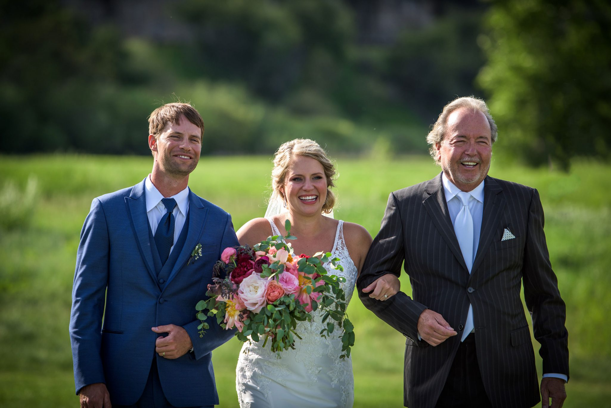 Walking down the aisle with dad & brother | Durango Weddings Magazine