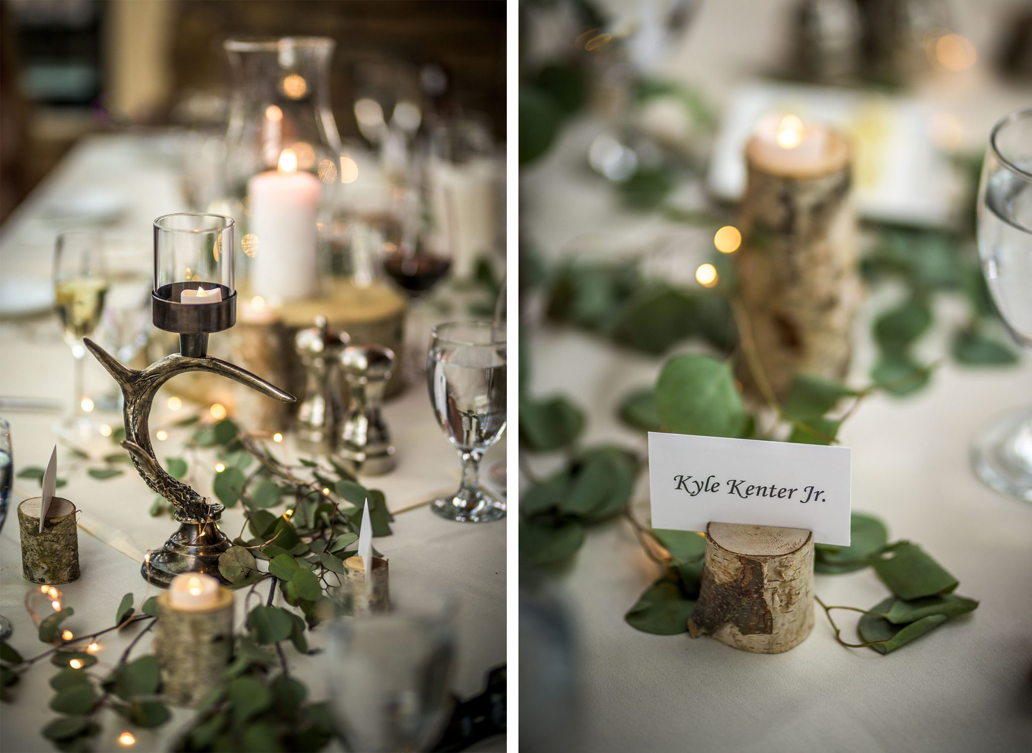 Reception table with birch name card holders, candles & greenery | Durango Weddings Magazine