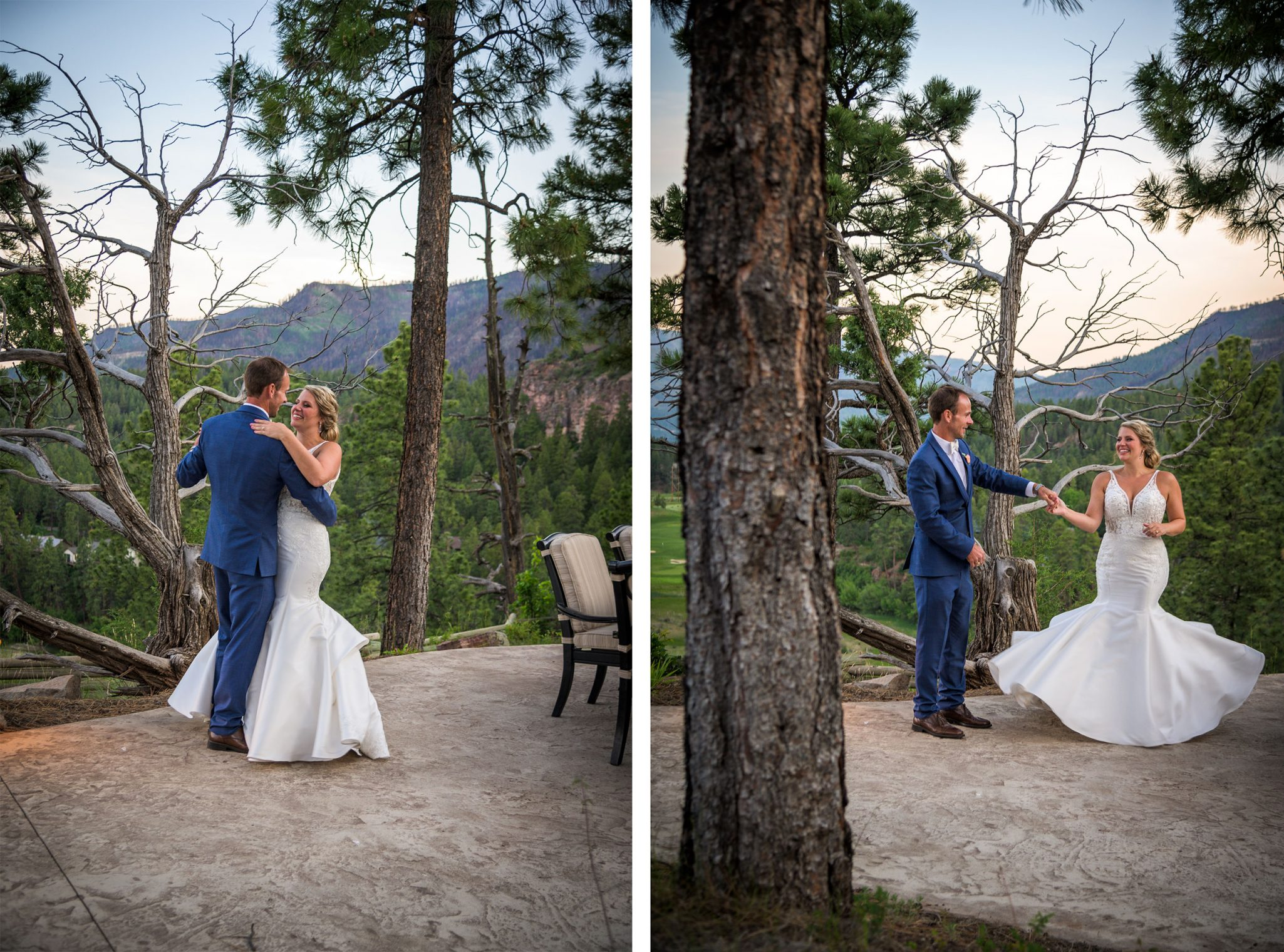 Bride & groom dancing in the mountains