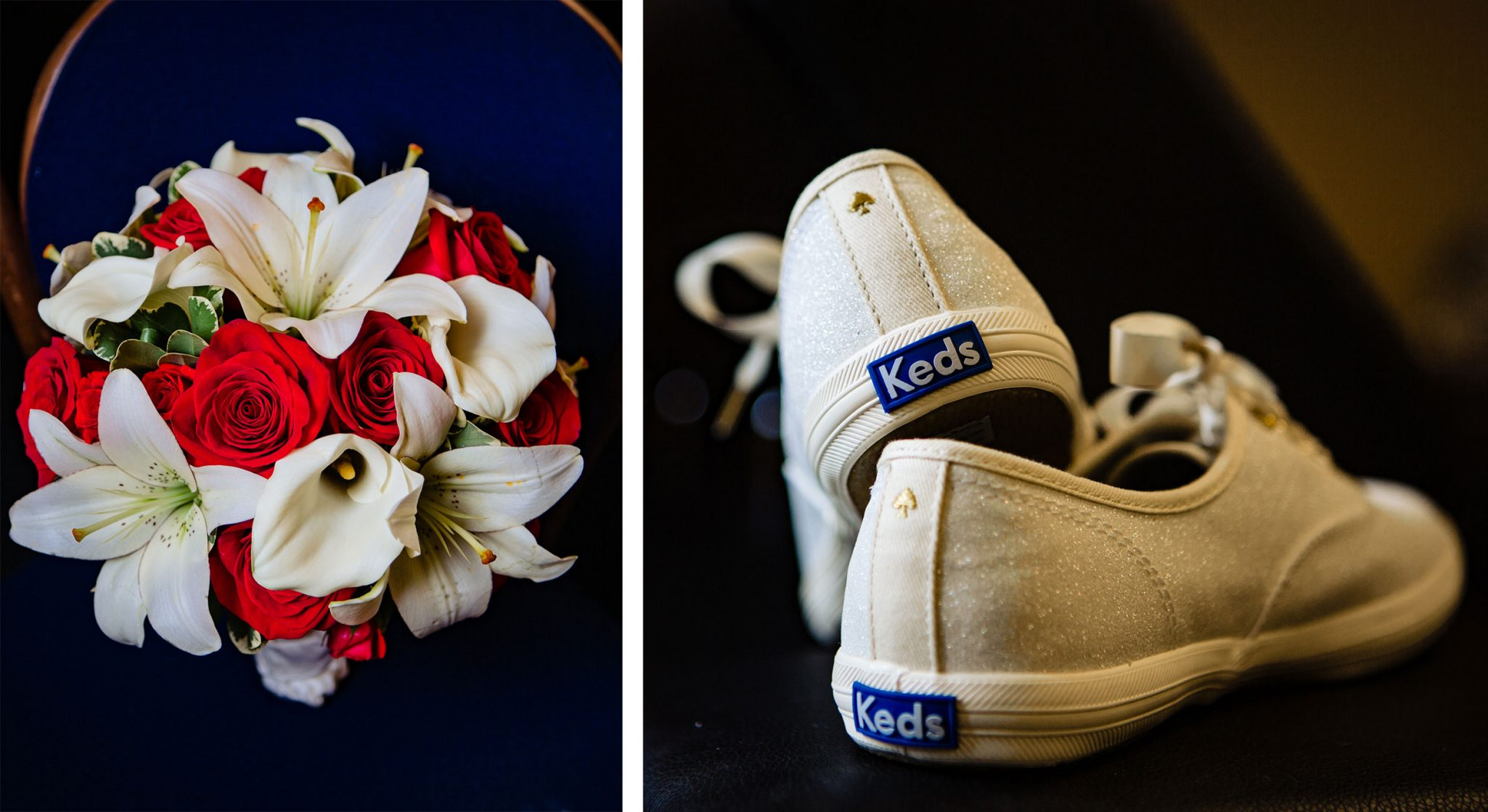 Flower bouquet + Keds wedding shoes | Durango Weddings Magazine