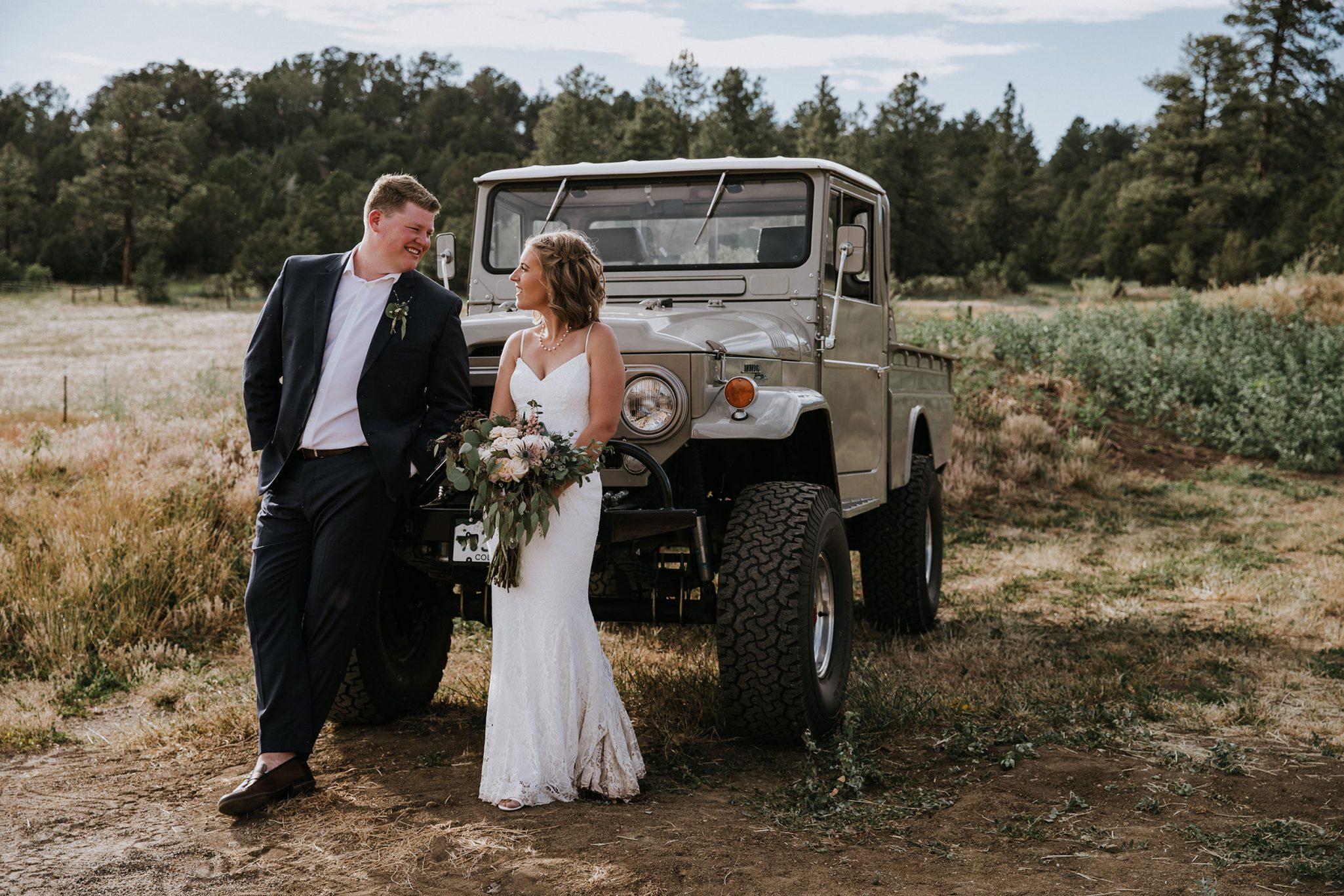 Bride + Groom at Reising stage wedding venue in Durango, Colorado