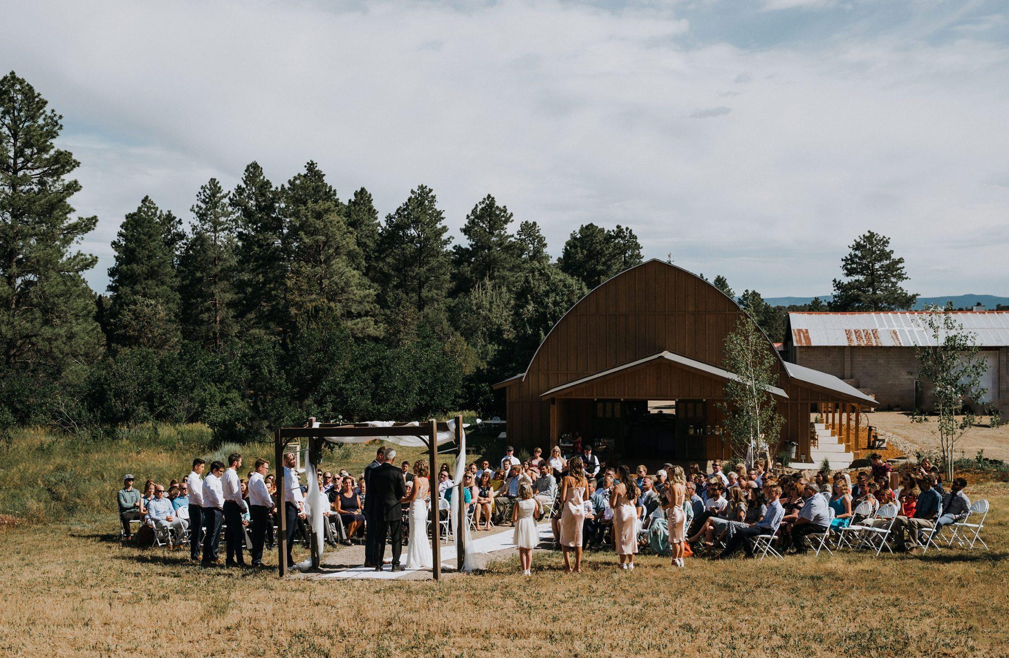Ceremony at Reising Stage wedding venue in Durango, Colorado