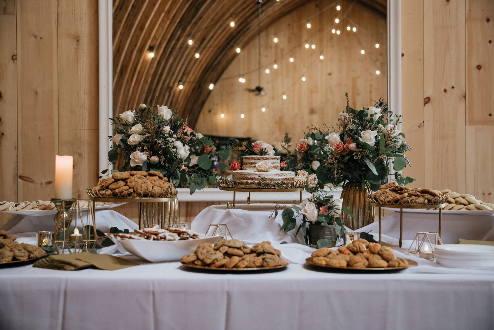 Dessert table with cookies & cake - Durango Weddings Magazine