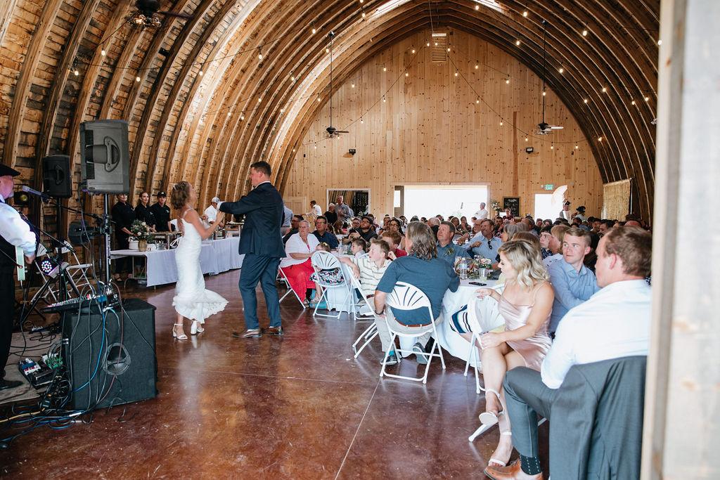 Wedding Reception dance at Reising Stage venue, Durango Colorado
